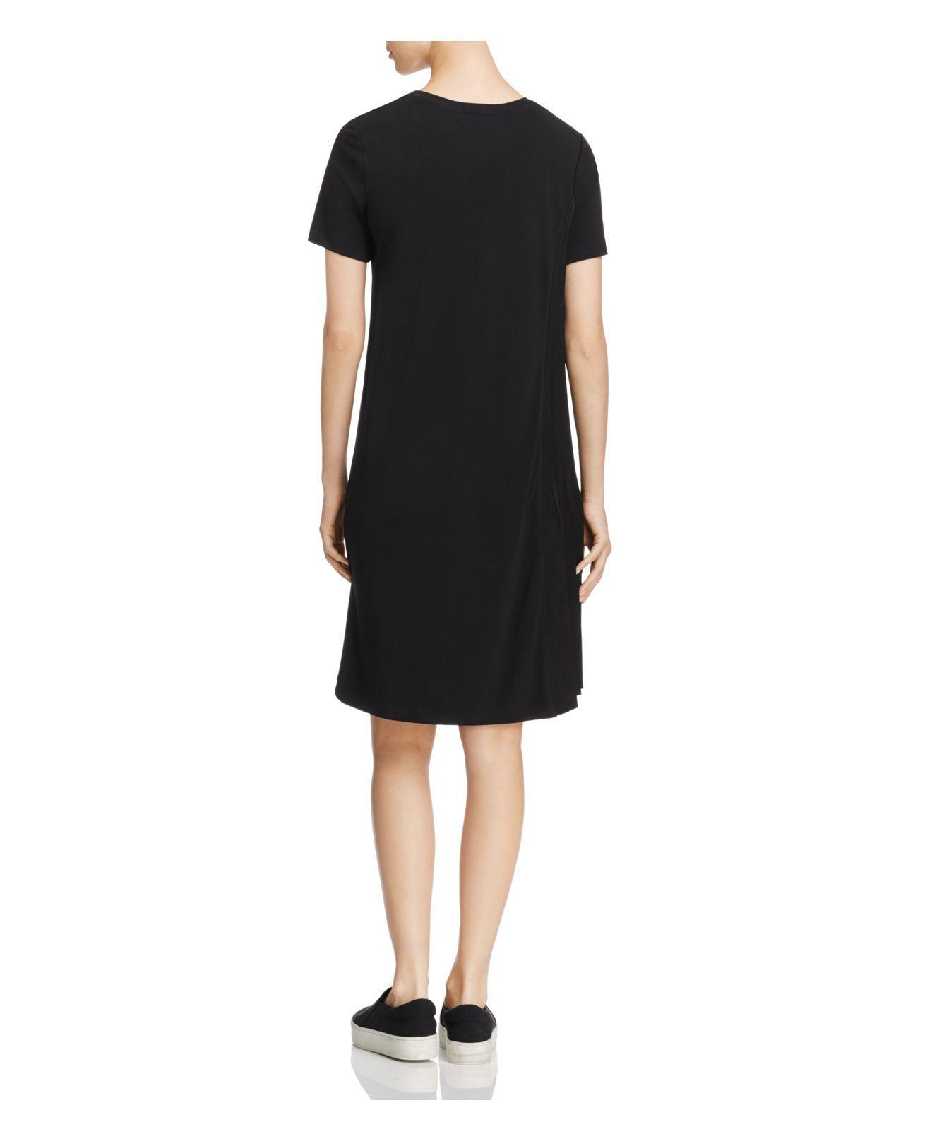 a84fb8e5e65 DKNY Short Sleeve Asymmetric-pleat Dress in Black - Lyst