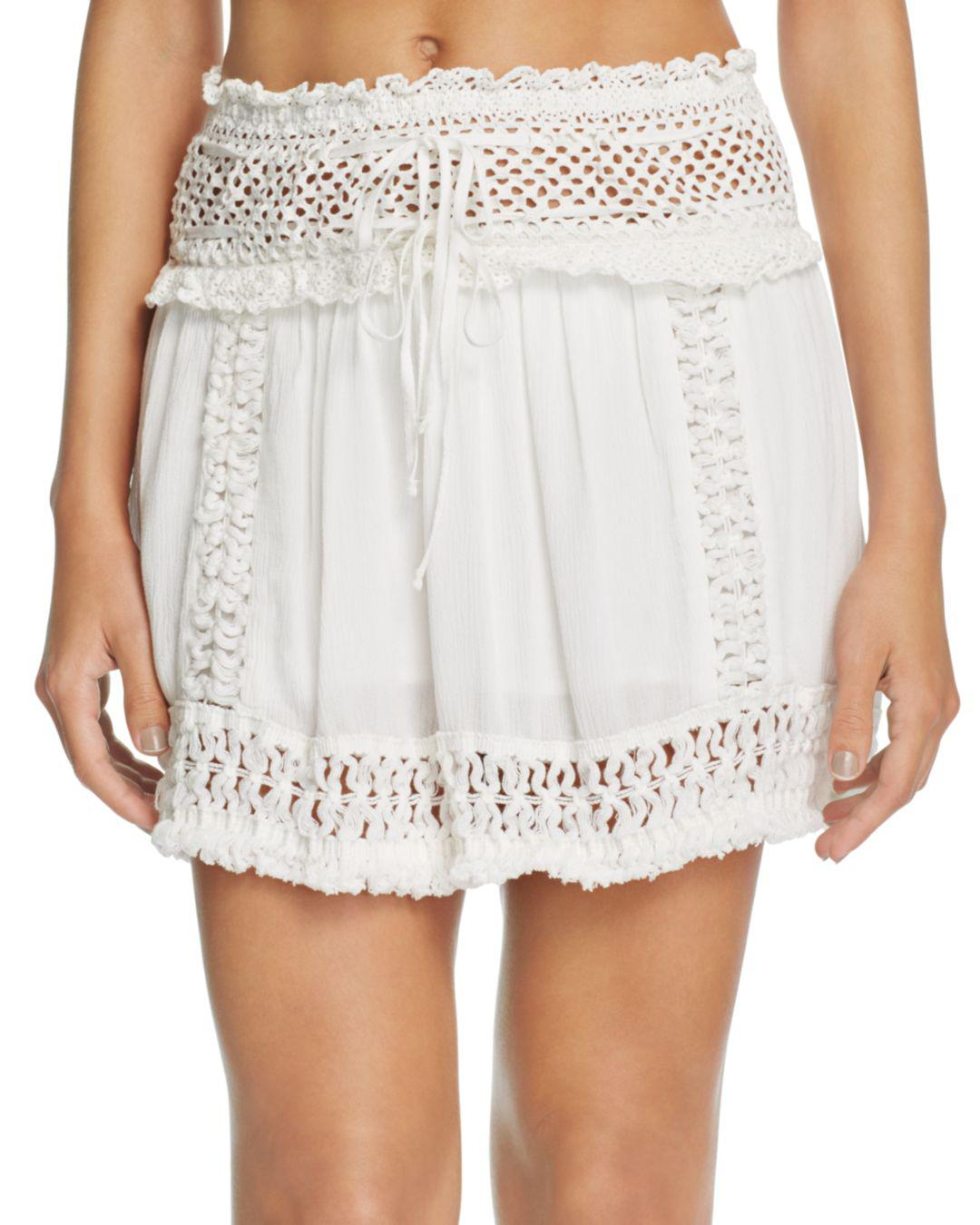 d3a8660a119f5 Lyst - Surf Gypsy Crochet Fringe Mini Skirt Swim Cover-up in White