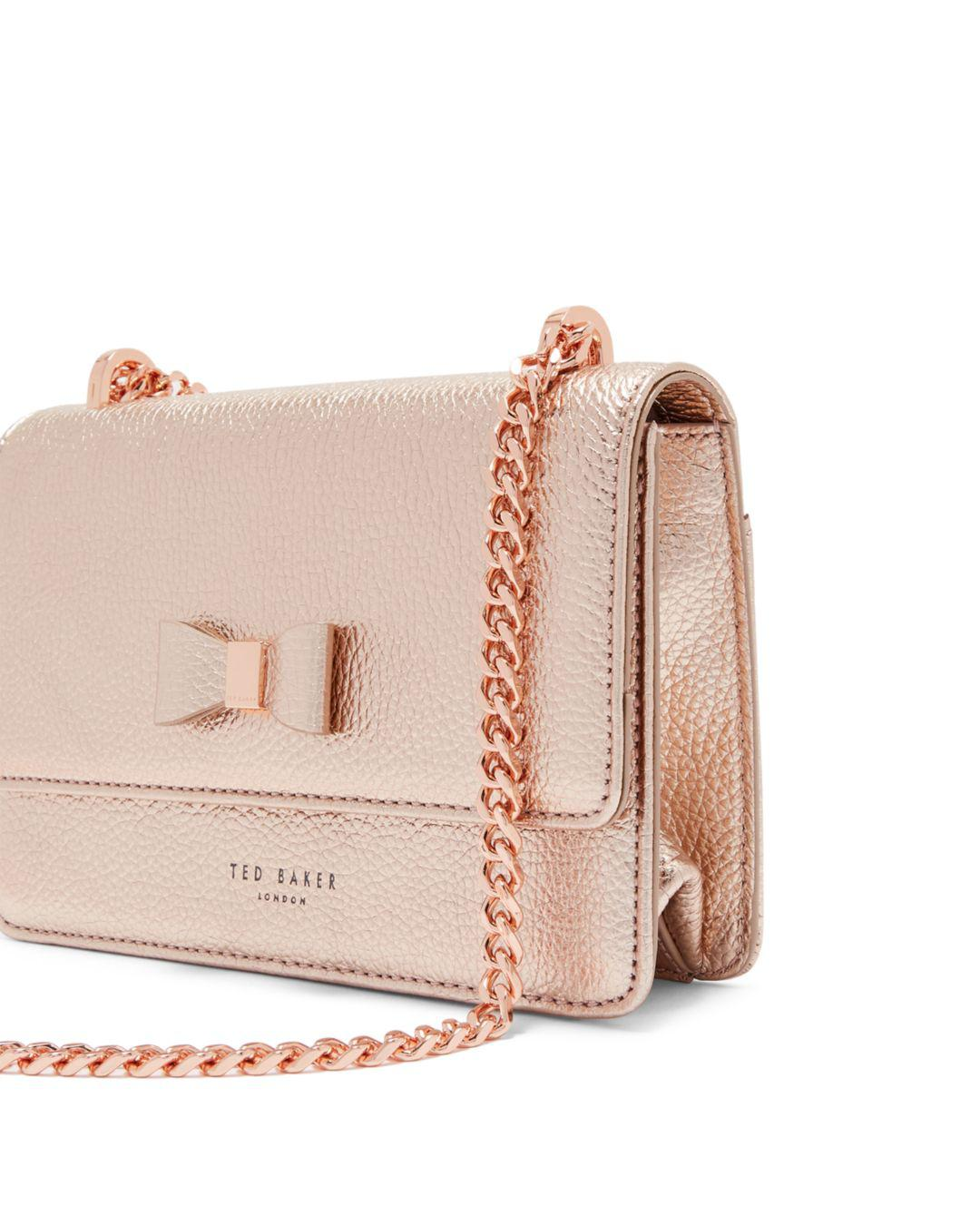 413f9a6cb Lyst - Ted Baker Drayaa Bow Detail Shoulder Bag in Pink - Save 13%