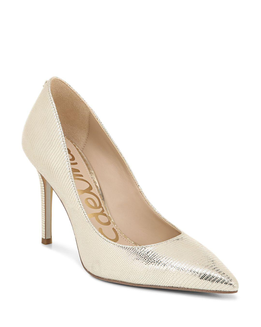 b0f635a5f9c Lyst - Sam Edelman Hazel Leather Pointed Toe Pumps in Metallic