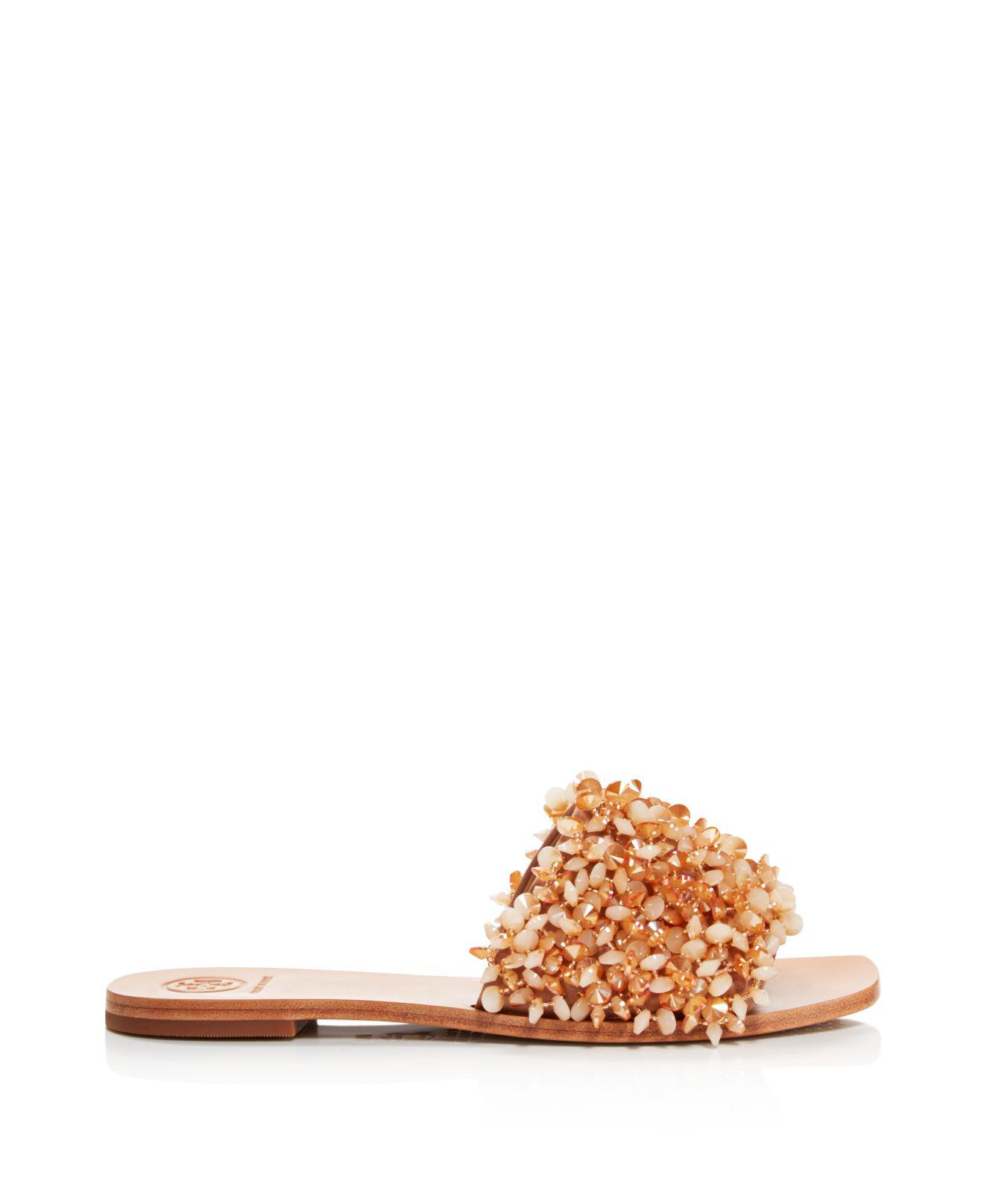 a5d962742349 Lyst - Tory Burch Women s Logan Embellished Slide Sandals