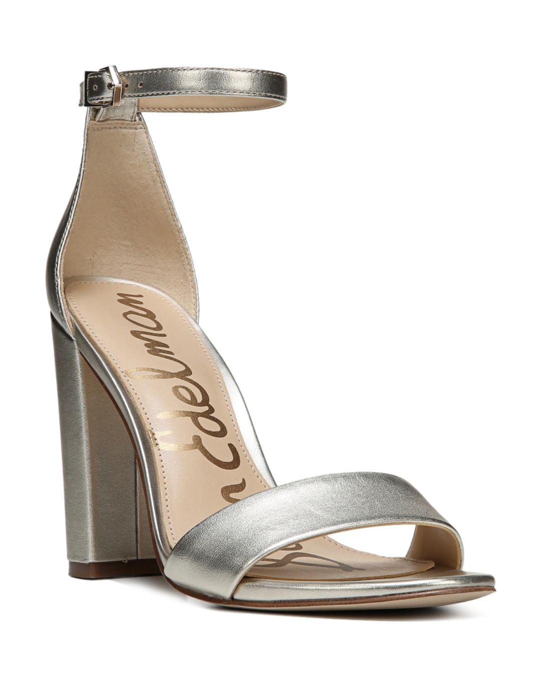 81d6413280b Lyst - Sam Edelman Yaro Ankle Strap Block Heel Sandals in Metallic ...