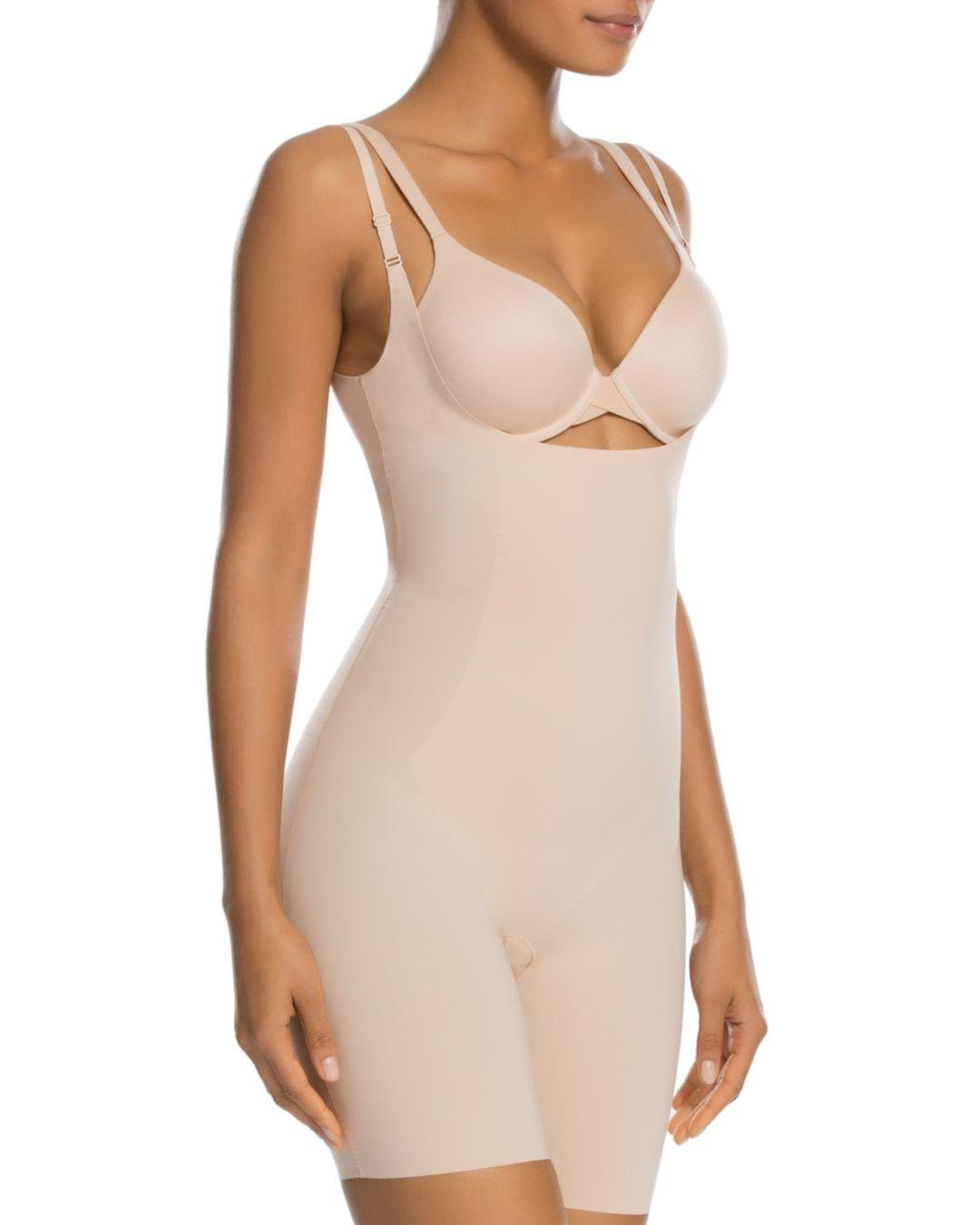 08d0b83c03201 Spanx Thinstincts Open-bust Mid-thigh Bodysuit in Natural - Lyst