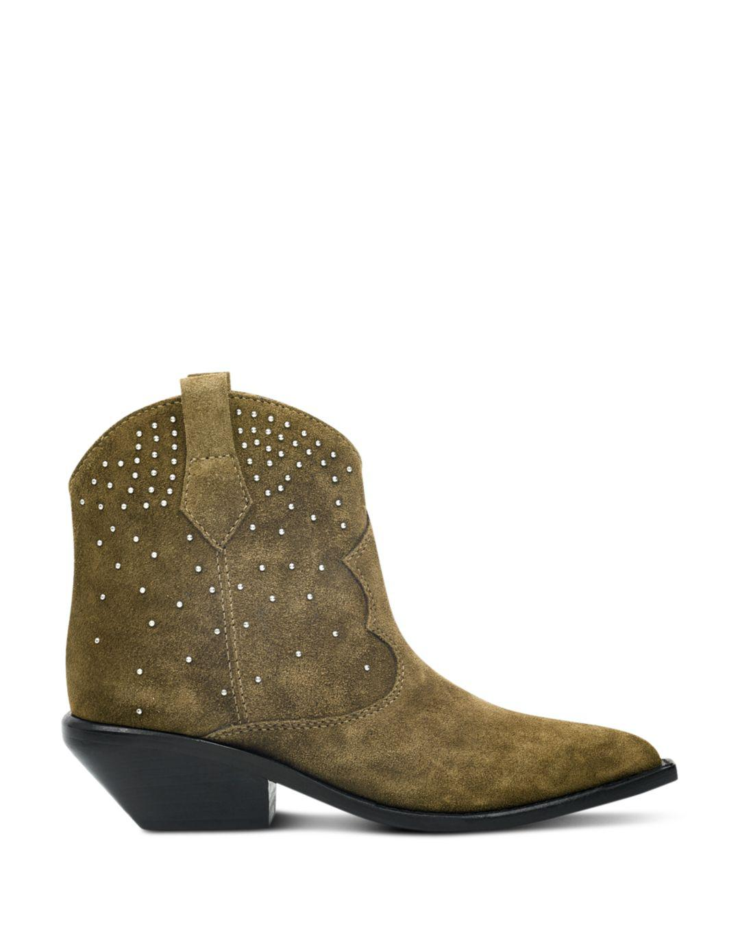 73565d3e117 Lyst - Sigerson Morrison Women s Tira Studded Suede Western Booties in Brown