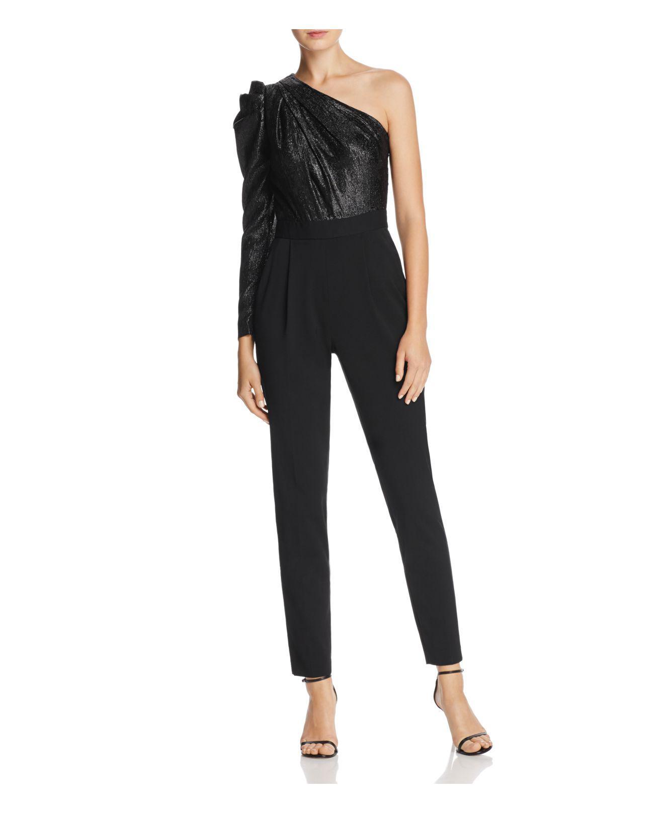 297c74d6dc7 Lyst - Michael Kors Shine One-shoulder Jumpsuit in Black