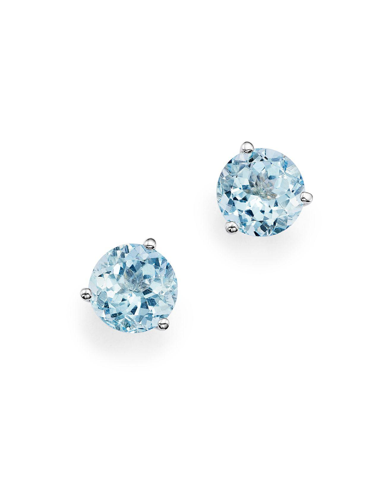 normal earrings jewelry neuwirth irene product aquamarine lyst blue marine in aqua stud ylwgold gallery