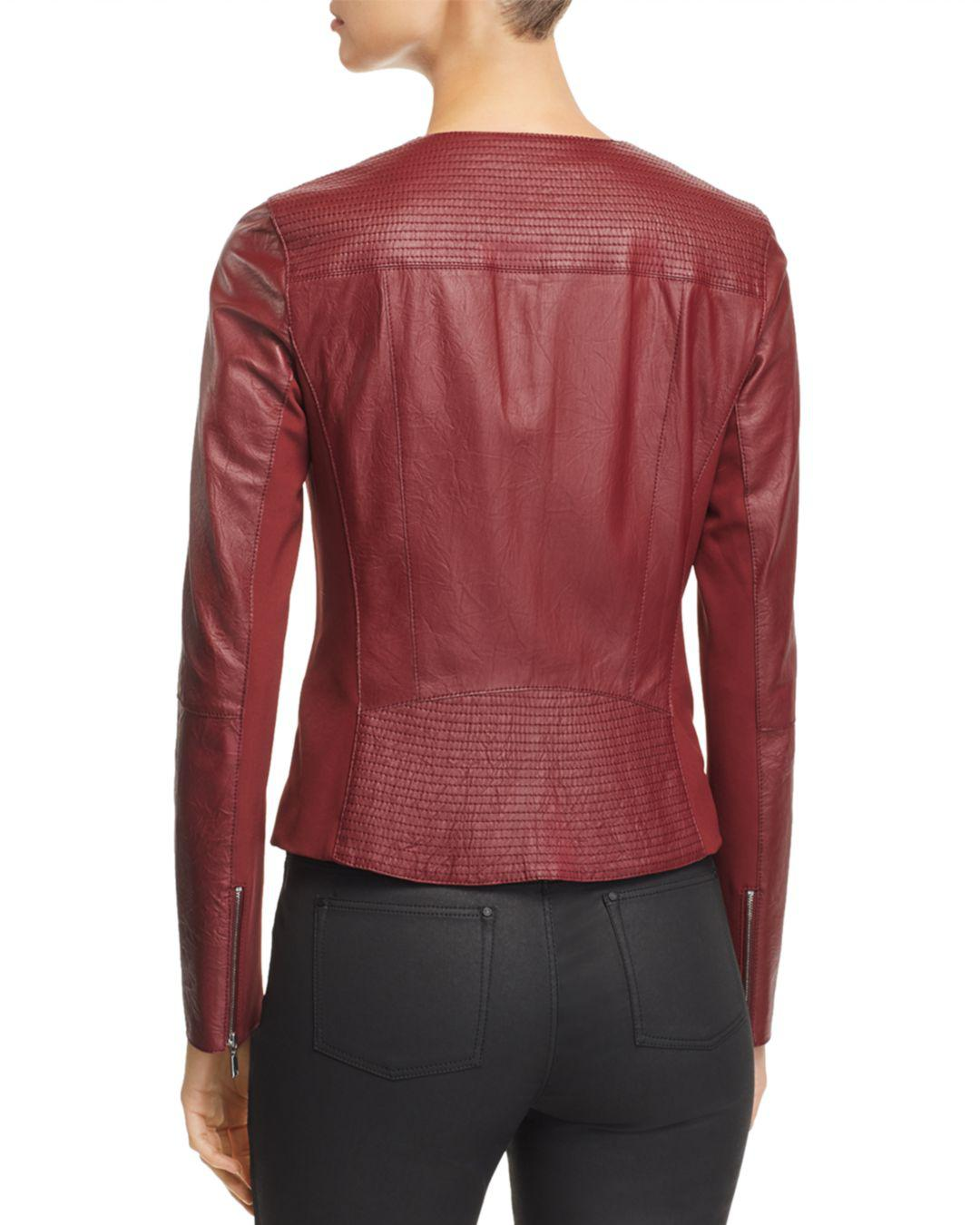 9b55aa588ef Lafayette 148 New York Trista Leather Moto Jacket in Red - Save  60.18099547511312% - Lyst