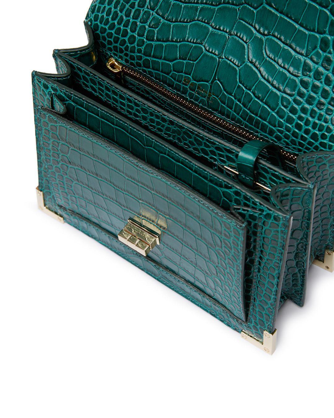 The Kooples Emily Croc-embossed Leather Mini Crossbody in Green - Lyst 289b0932029fe
