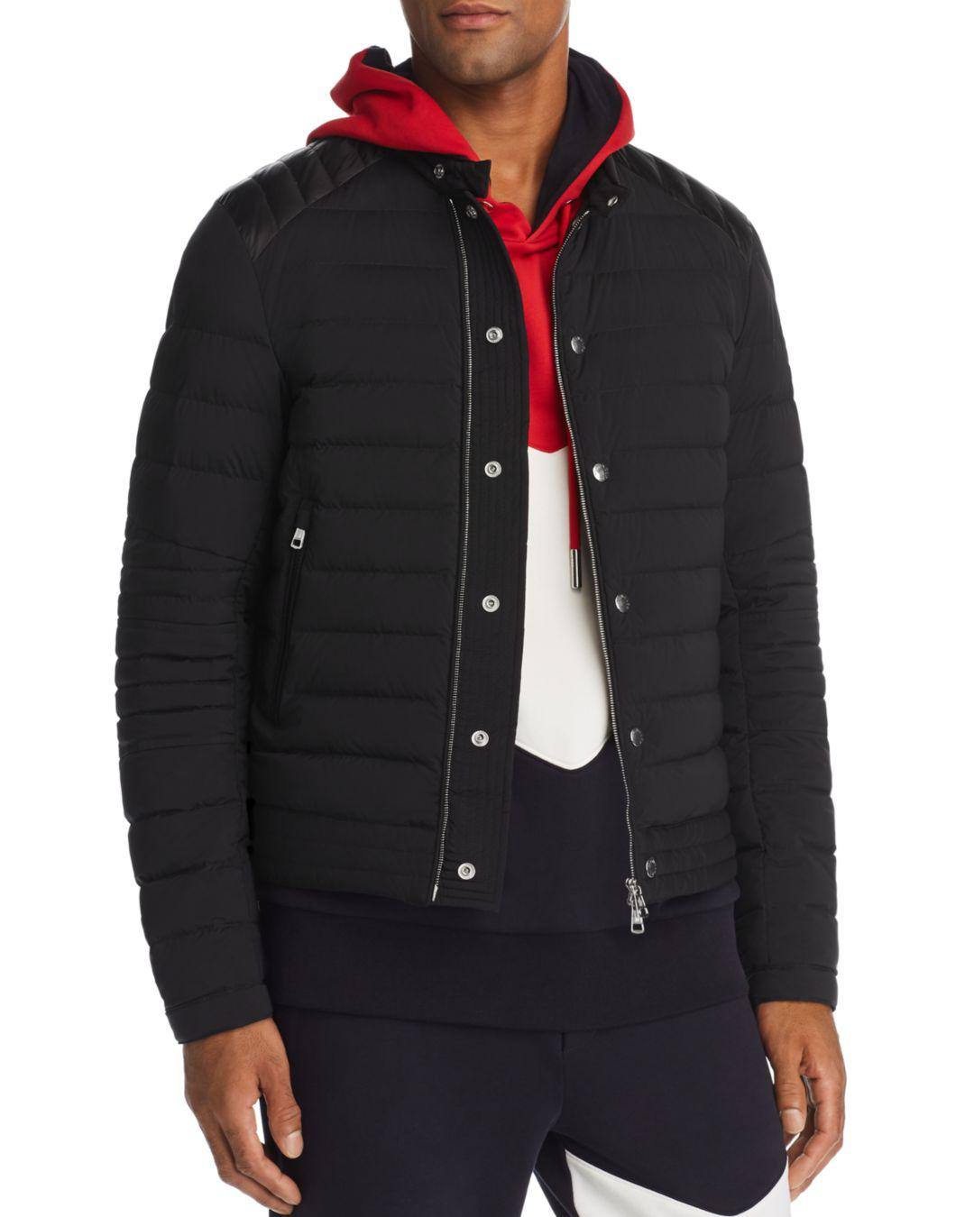 45d170e07 Lyst - Moncler Barral Lightweight Moto Down Jacket in Black for Men
