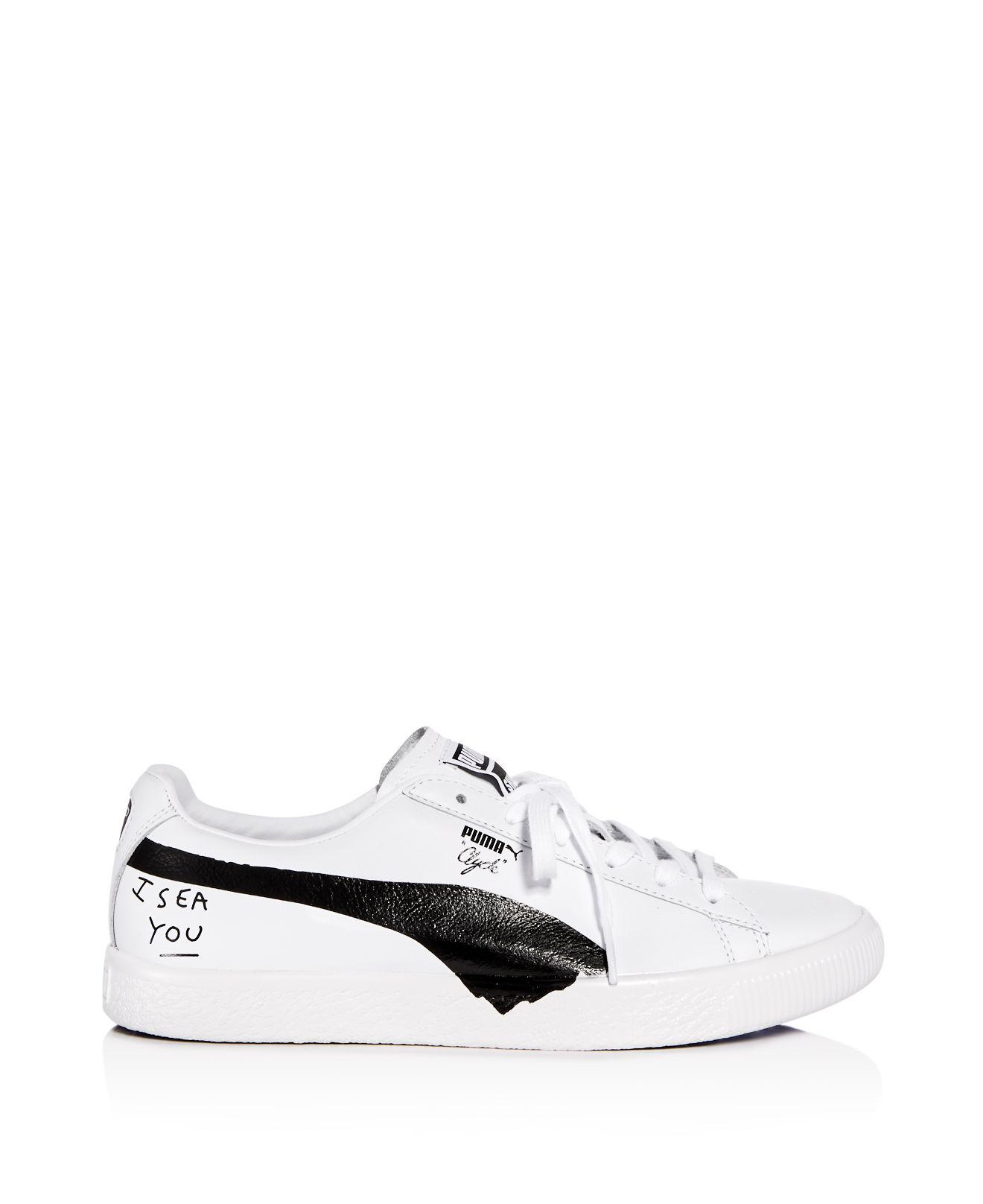 Puma X Shantell Martin Women's Clyde Leather Lace Up Sneakers YKPNym6f