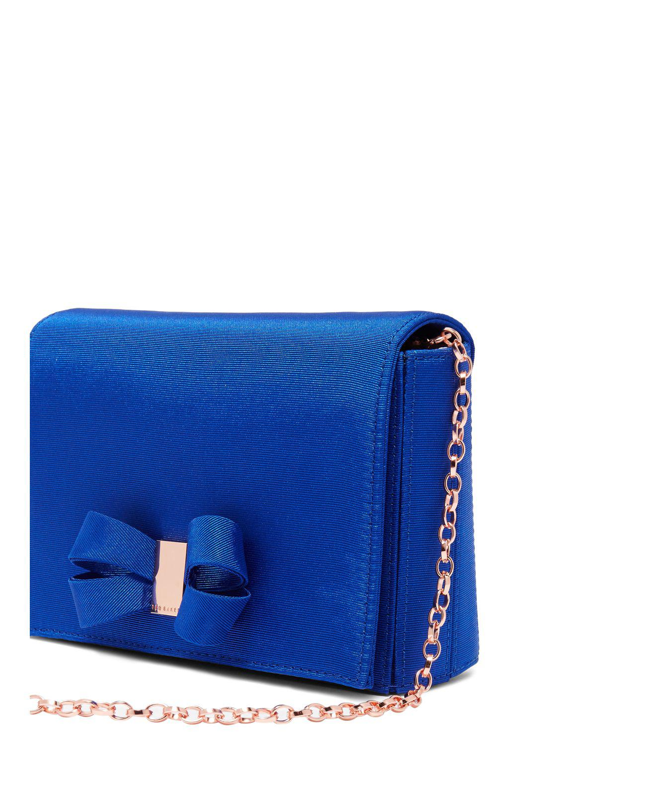 985bfbe930 Ted Baker Stacyy Looped Bow Satin Clutch in Blue - Lyst