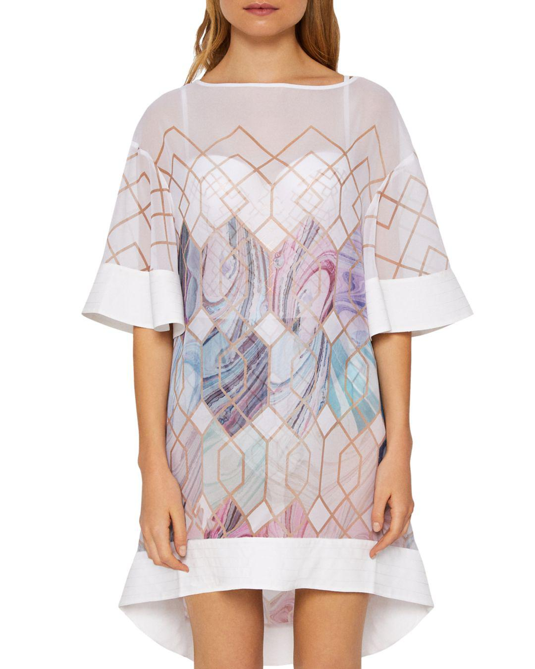 efeedc5064b Ted Baker Alban Sea Of Clouds Tunic Swim Cover-up in White - Lyst
