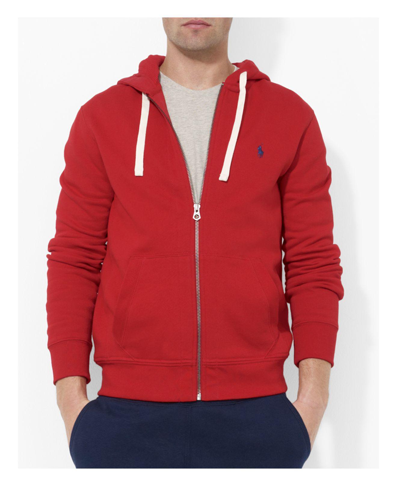 Polo Ralph Lauren. Men's Red Classic Full-zip Fleece Hoodie