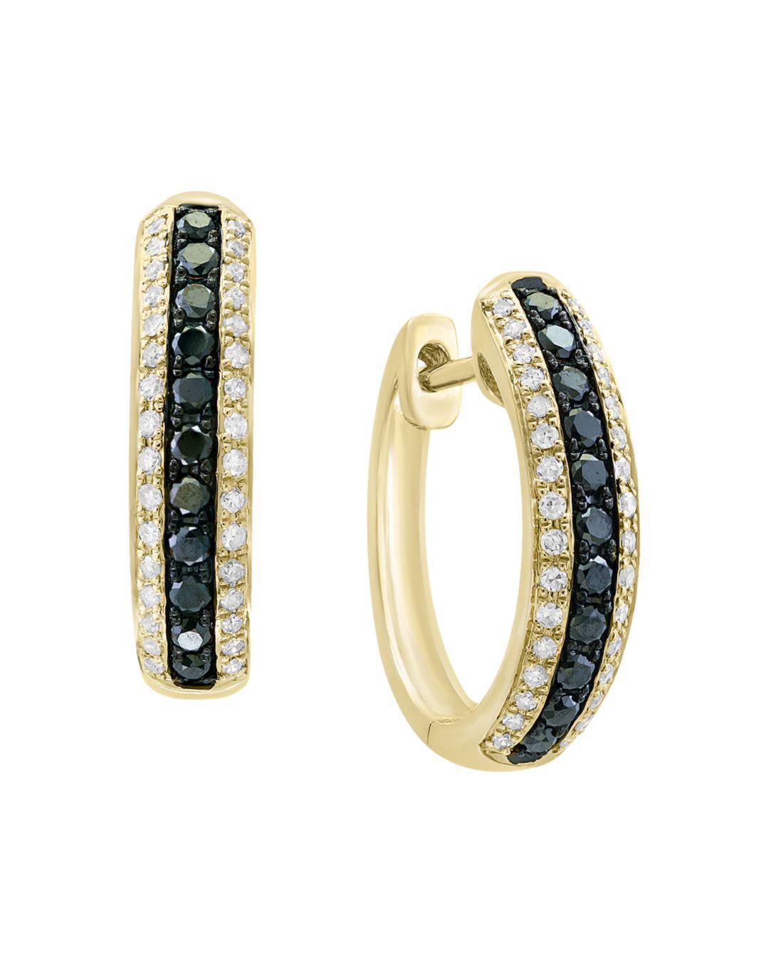 63bcdaf88dc431 Bloomingdale's. Women's Black & White Diamond Hoop Earrings In 14k Yellow  Gold