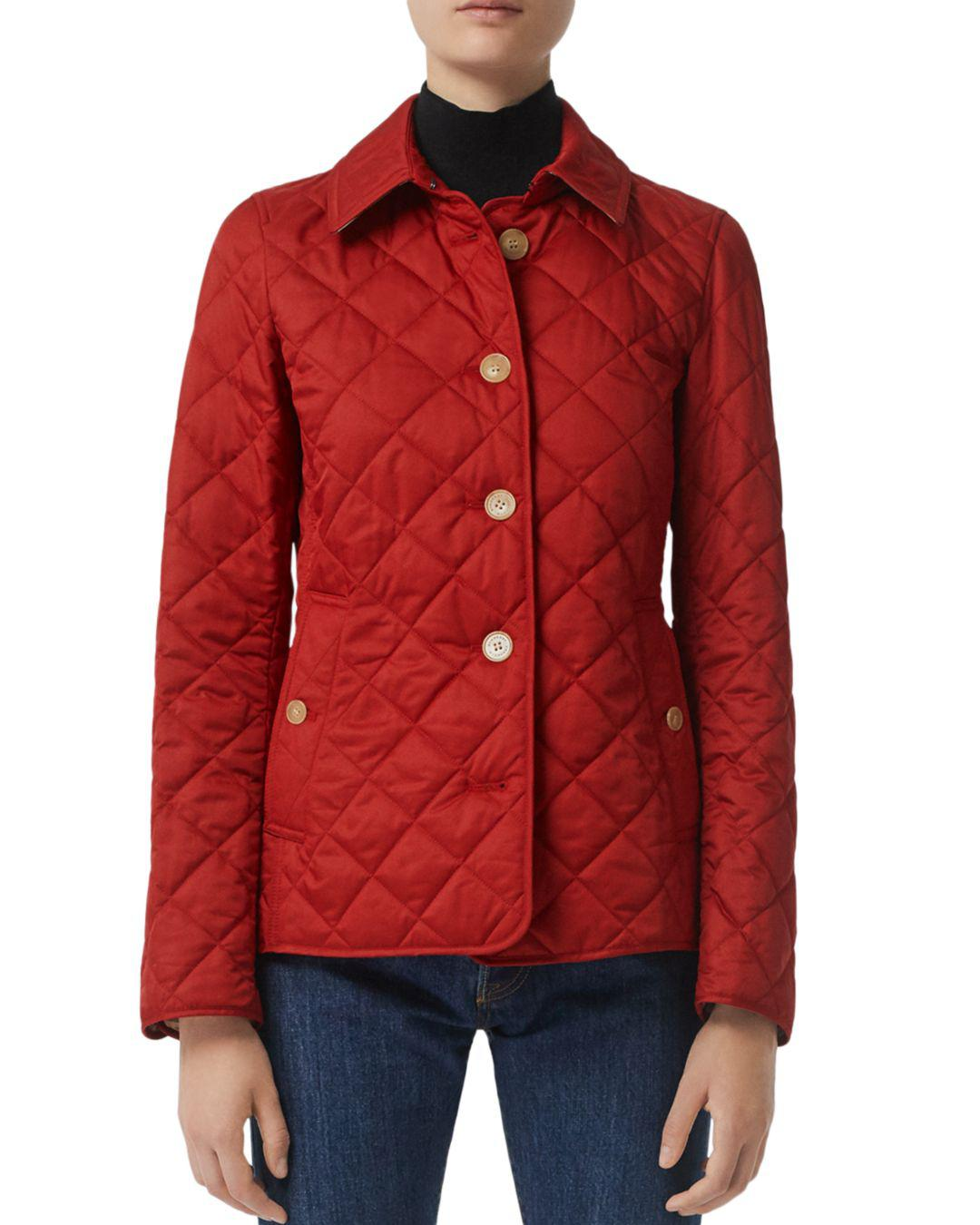 94ec2d77591fa Lyst - Burberry Frankby Quilted Jacket in Red - Save 15%