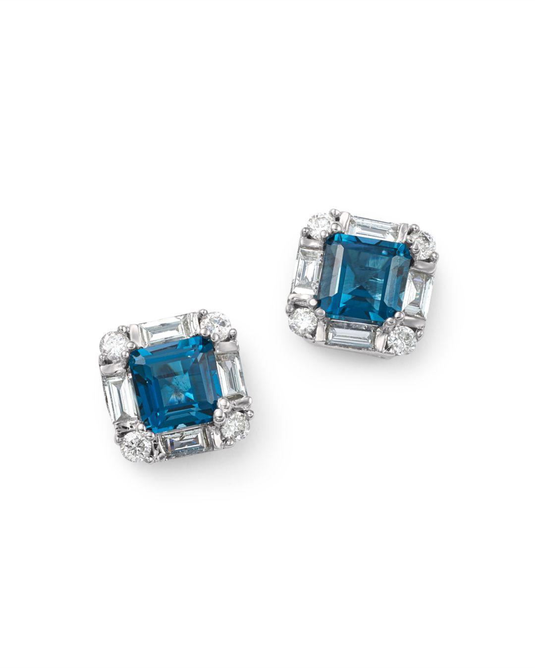 1b9233a5ea96 Bloomingdale s - London Blue Topaz   Diamond Square Stud Earrings In 14k  White Gold - Lyst. View fullscreen