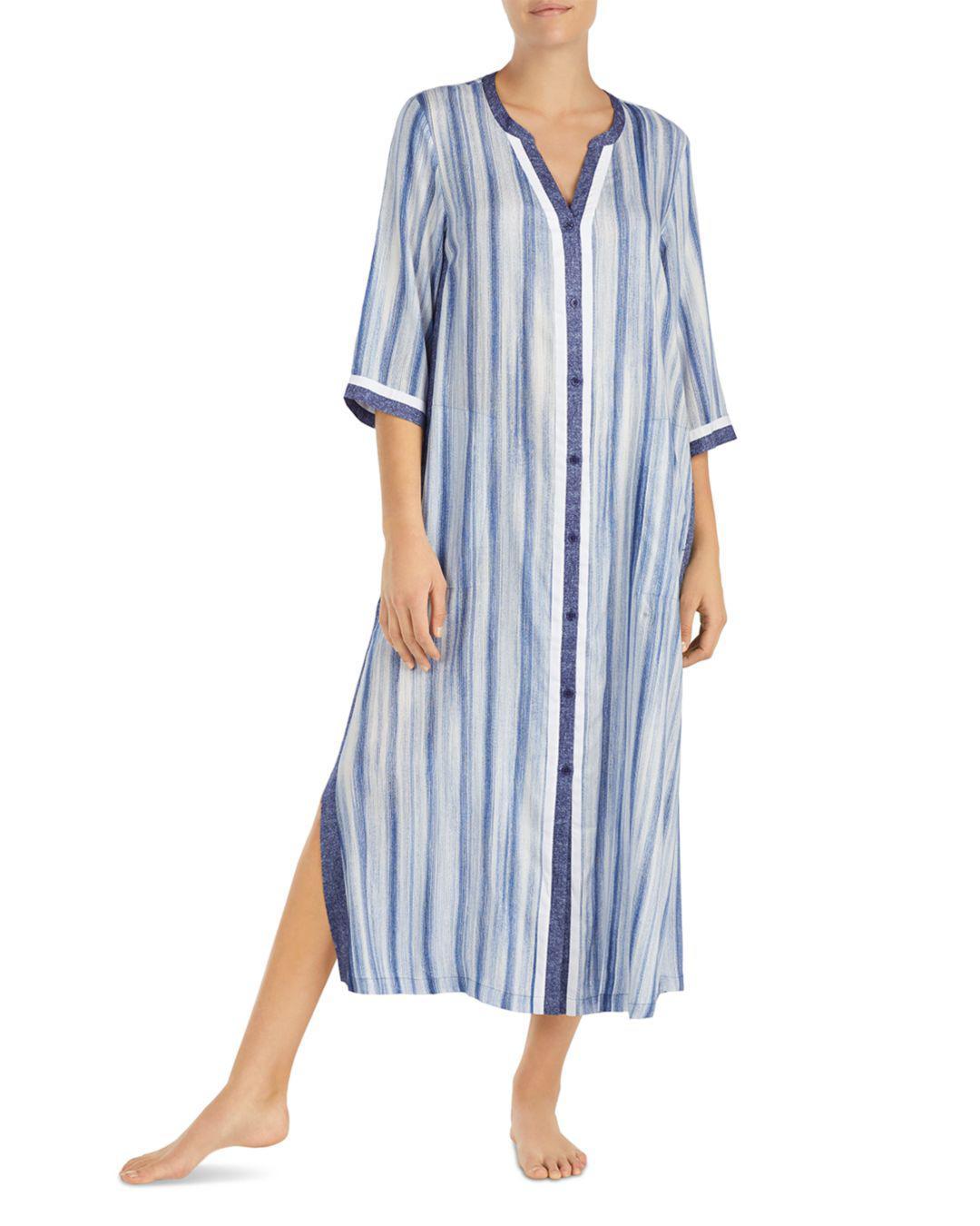 abc1db3adeeed5 Lyst - Donna Karan Striped Maxi Sleepshirt in Blue
