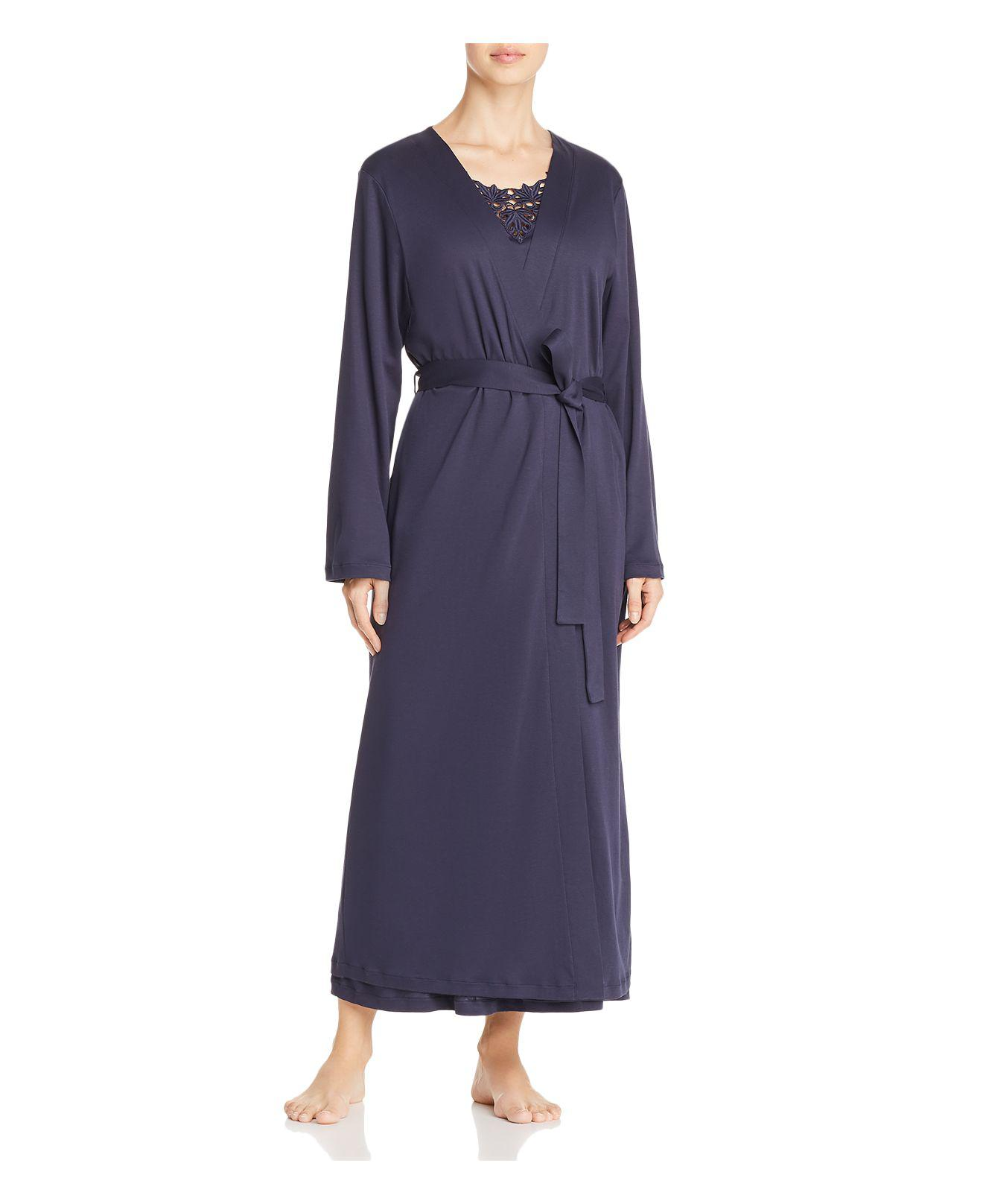 98a0d0a702 Lyst - Hanro Jasmin Embroidered Long Robe in Blue