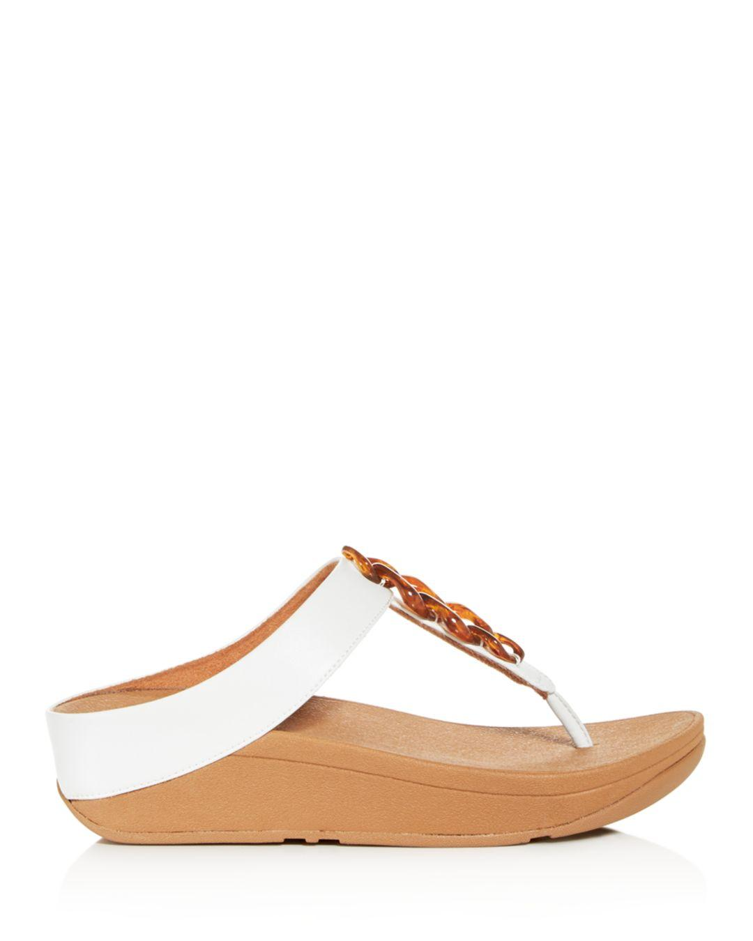 069826511 Lyst - Fitflop Women s Fino Embellished Platform Thong Sandals in Brown