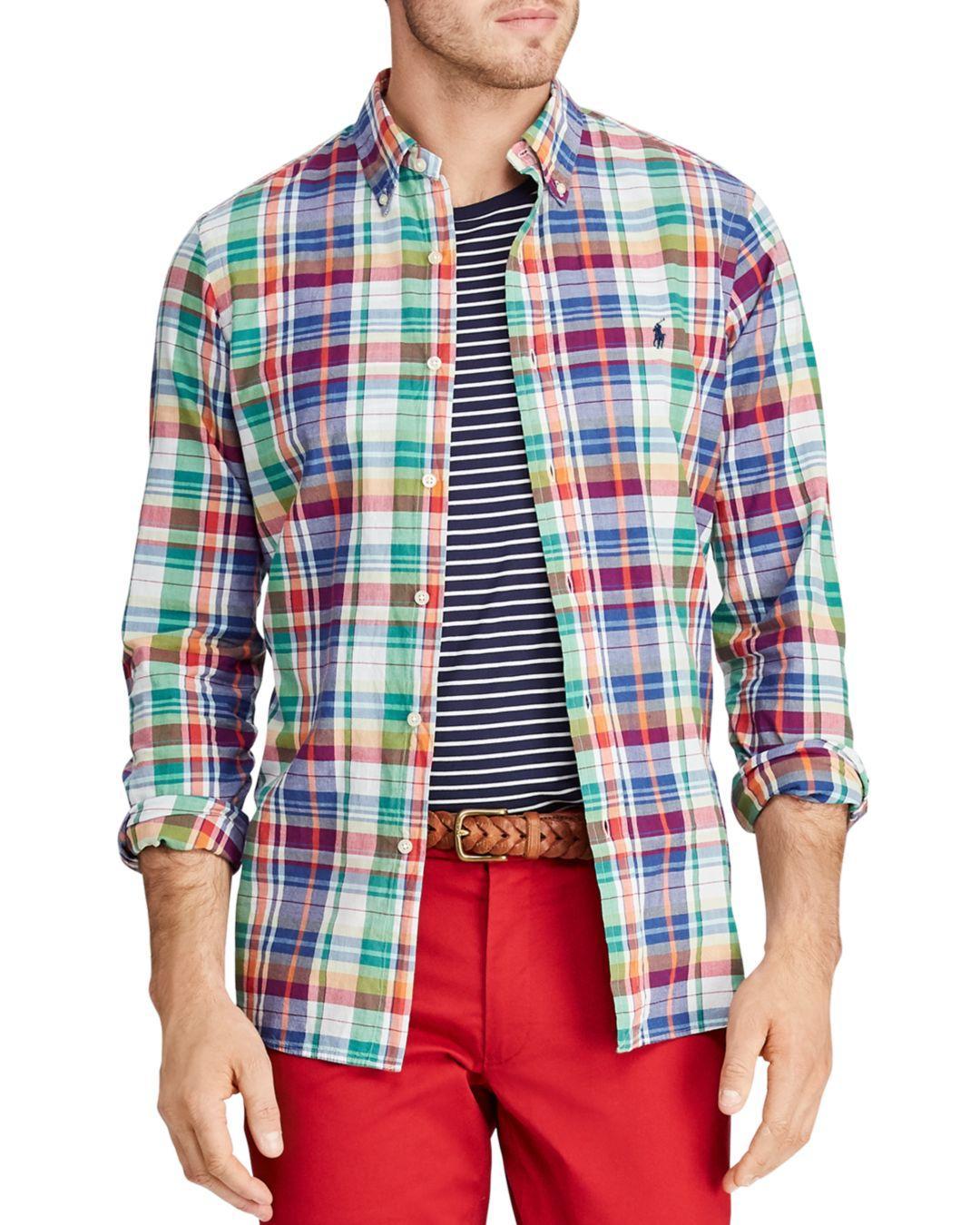d988519b96d4 Lyst - Polo Ralph Lauren Classic Fit Button-down Madras Shirt in Red ...
