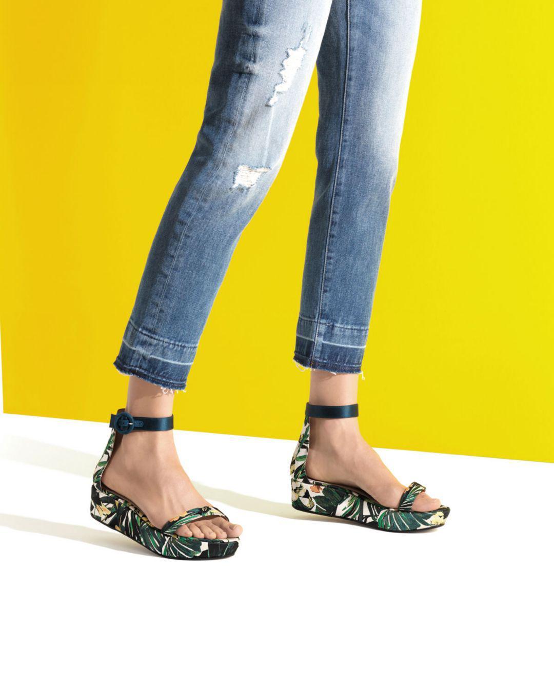 c728f3e0901d Lyst - Stuart Weitzman Women s Capri Printed Jacquard Platform Ankle ...