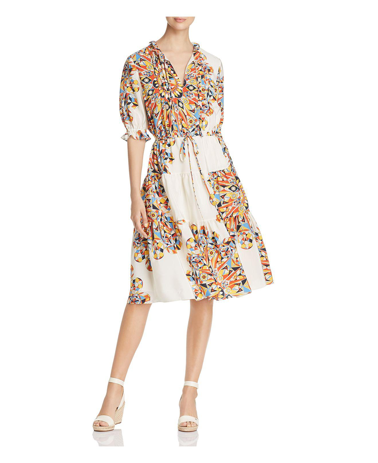 Tory Burch. Women's Arabella Printed Silk Ruffle Dress