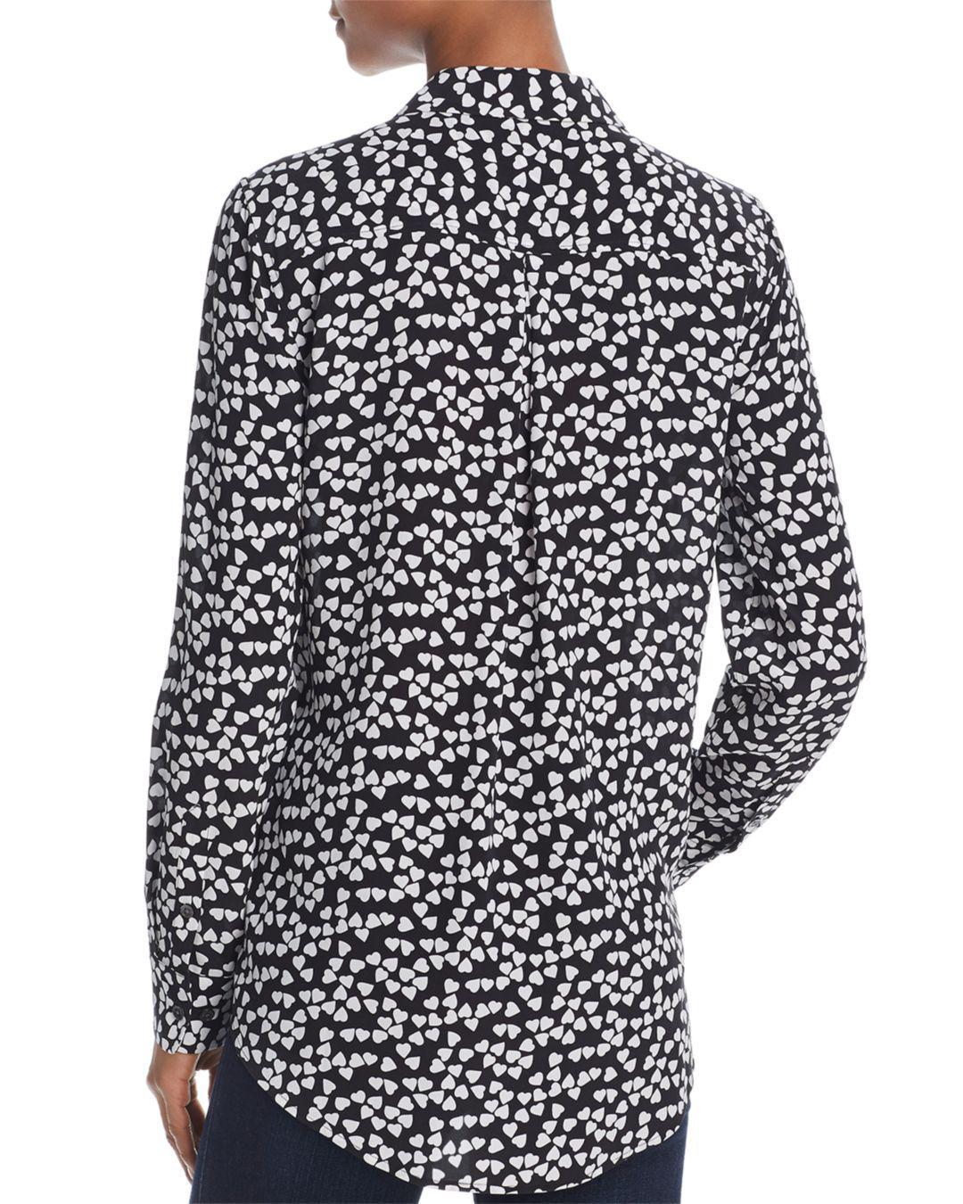 27efd01a4c4595 Lyst - Equipment Essential Silk Heart Shirt in Black