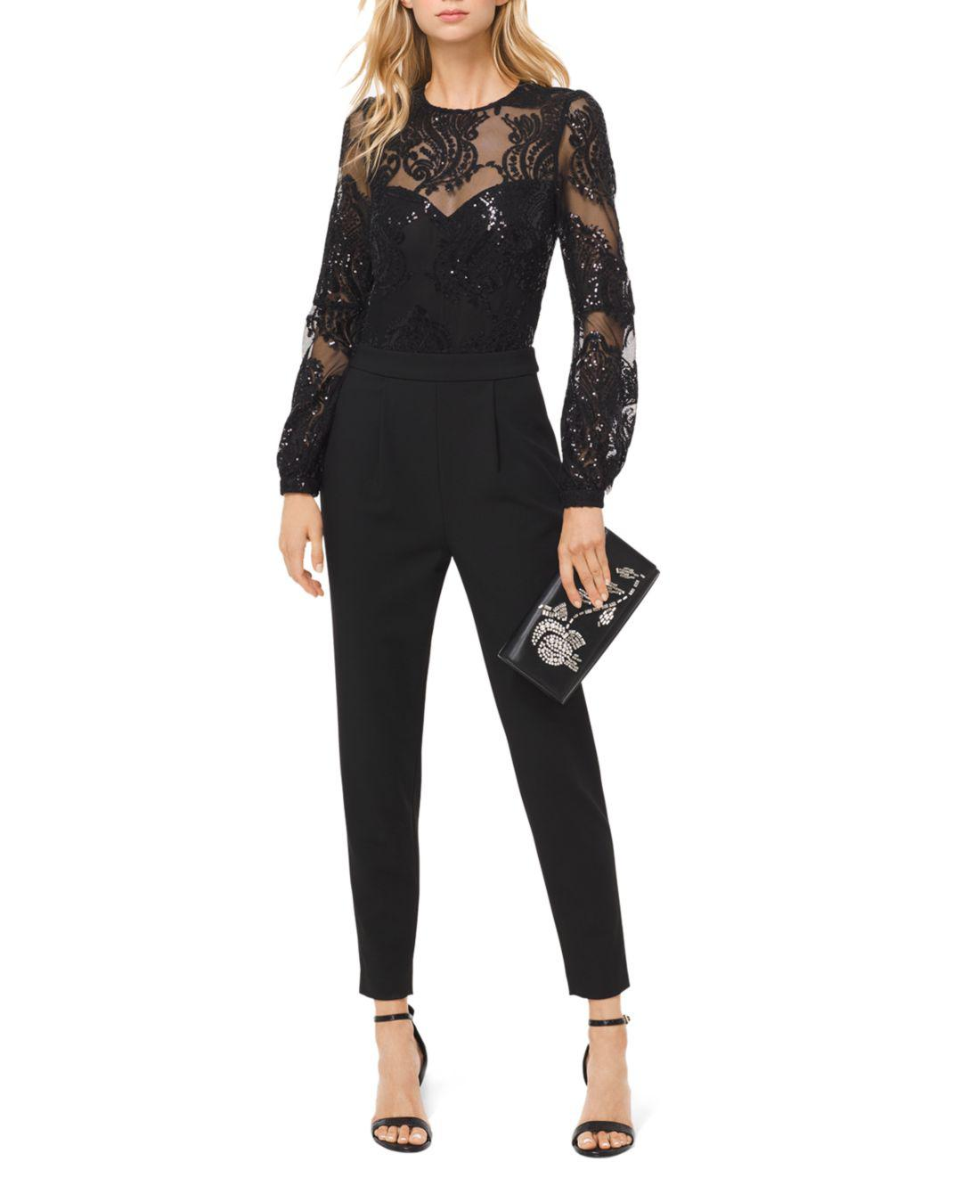 5ab998c07b0b Lyst - MICHAEL Michael Kors Sequined Sheer-detail Jumpsuit in Black