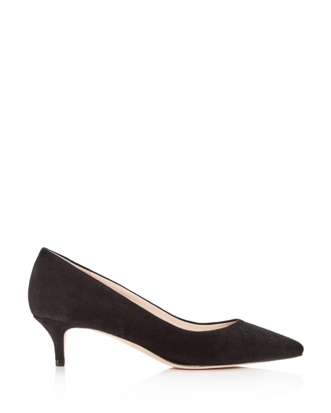 02f38515331a Lyst - Cole Haan Women s Vesta Suede Kitten-heel Pumps in Black