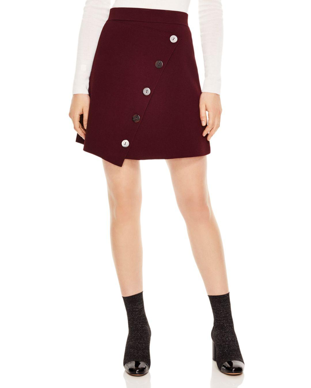 59e3353ea52d Sandro Fiji Asymmetric Decorative-button Skirt in Red - Lyst