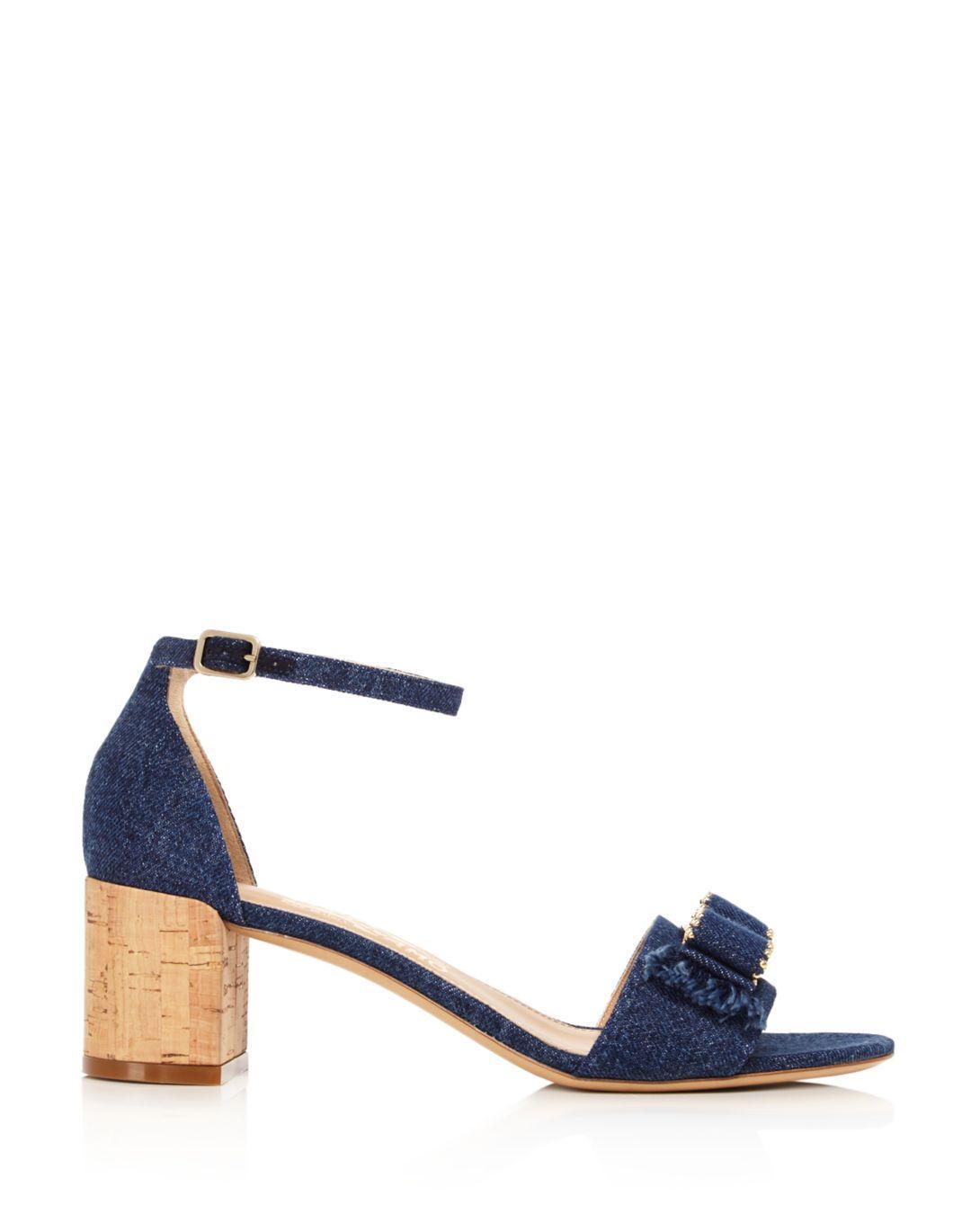941657462774 Lyst - Ferragamo Women s Gavina Jeans Cork Heel Sandals in Blue