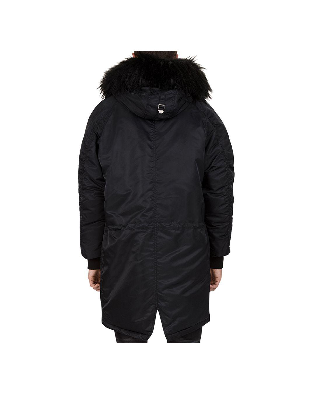 851090d2dd16 Lyst - The Kooples Oversized Contrast-fabric Parka Jacket in Black for Men