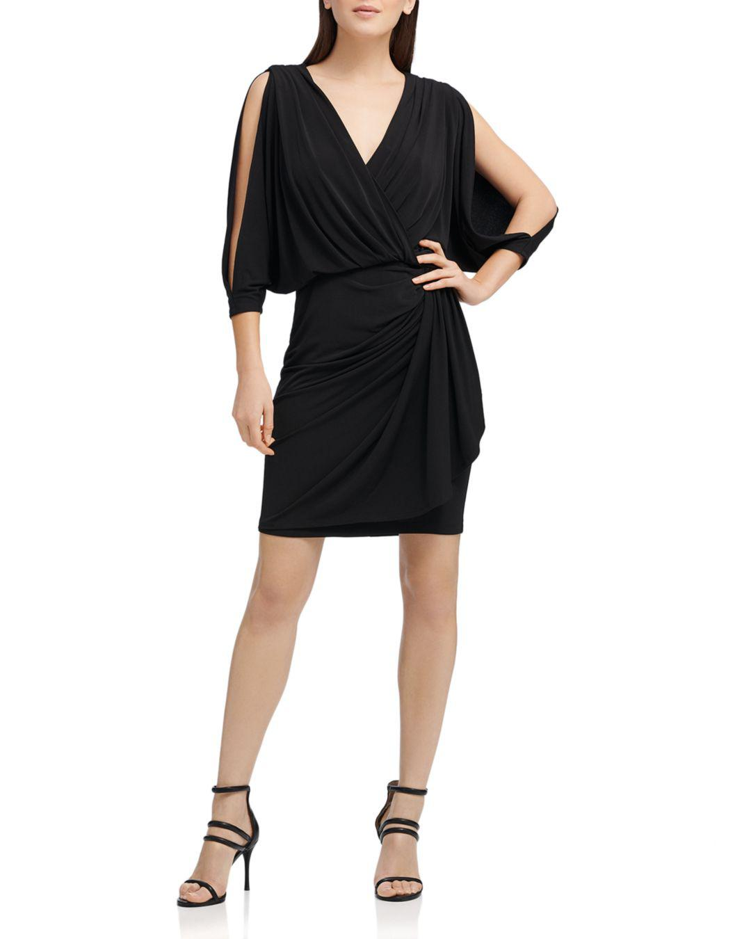 150f79e852ea7 Donna Karan Split-sleeve Jersey Dress in Black - Lyst