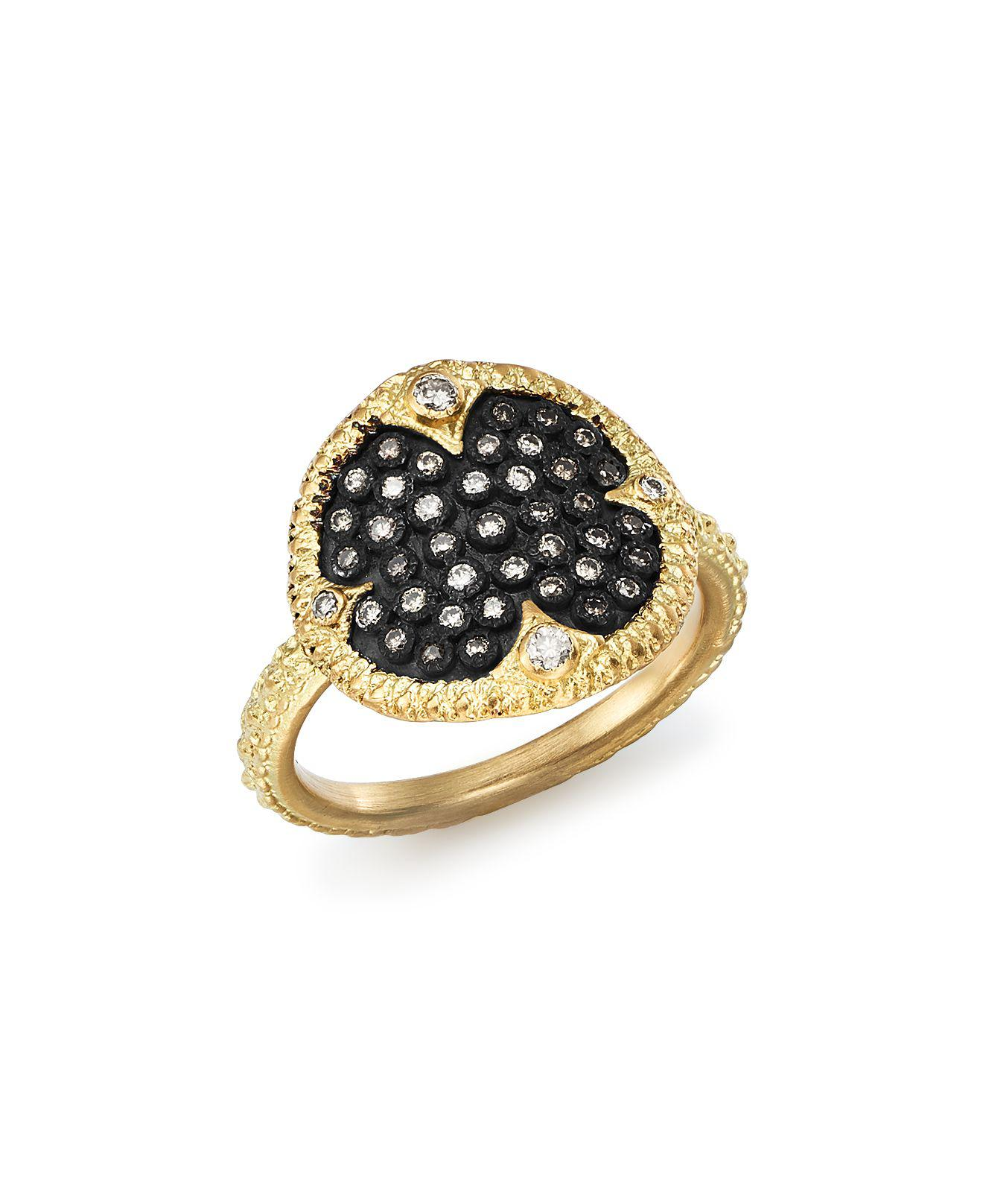 Armenta New World Pavé Scroll Ring with Champagne Diamonds & Black Sapphires zIVMDNoP