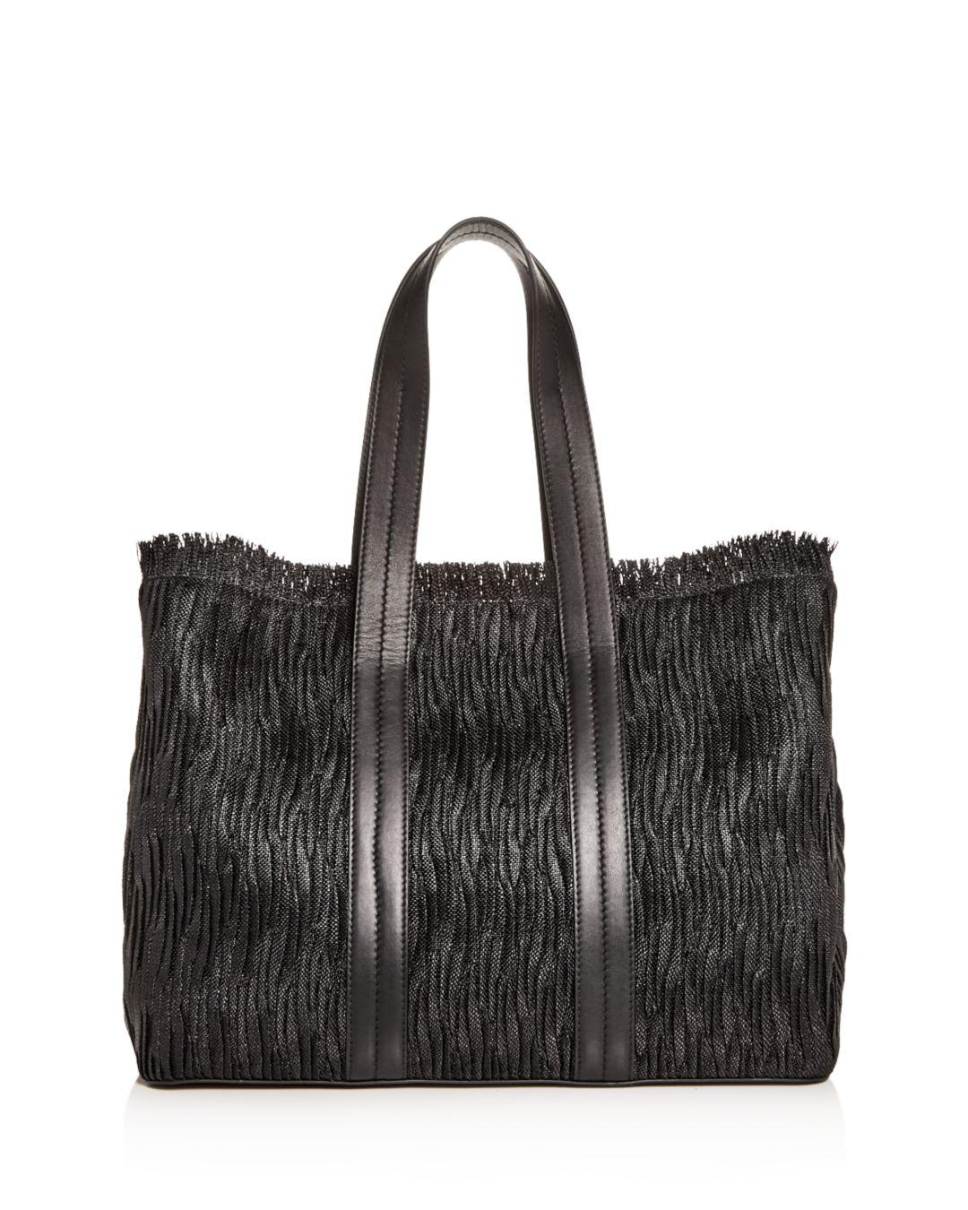 bc4f2736bf7d Max Mara Edvige Plissé Woven Tote Bag in Black - Lyst