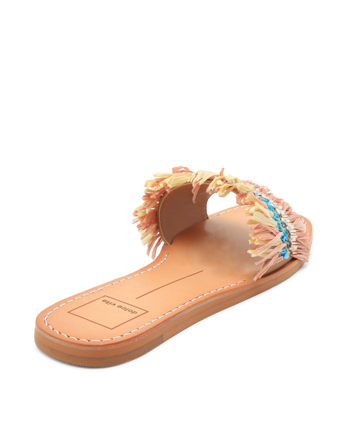 Dolce Vita Cadiz Embellished Raffia Slide Sandals jRwEb6v557
