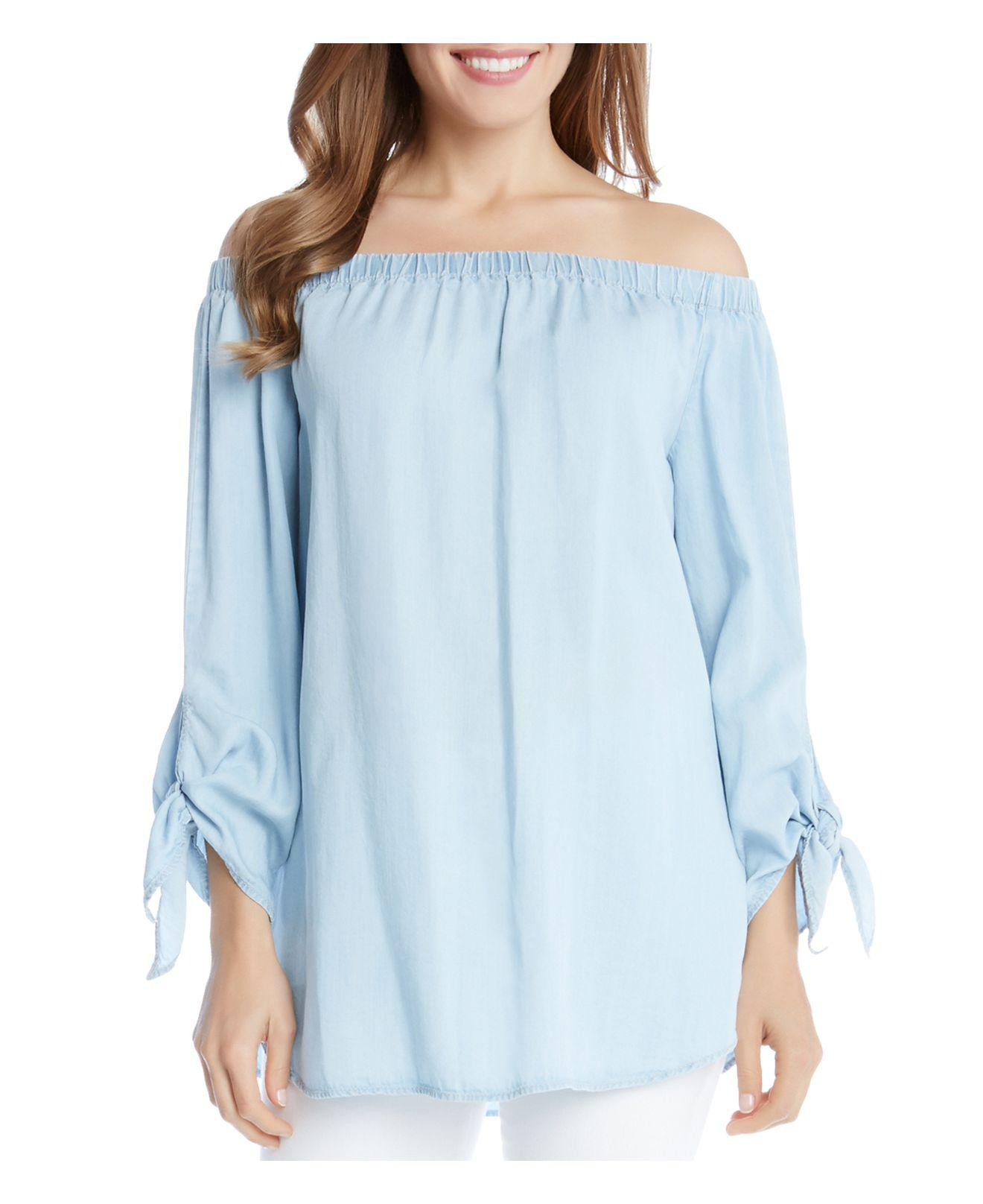 e2215e119 Lyst - Karen Kane Off-the-shoulder Tie-sleeve Peasant Top in Blue