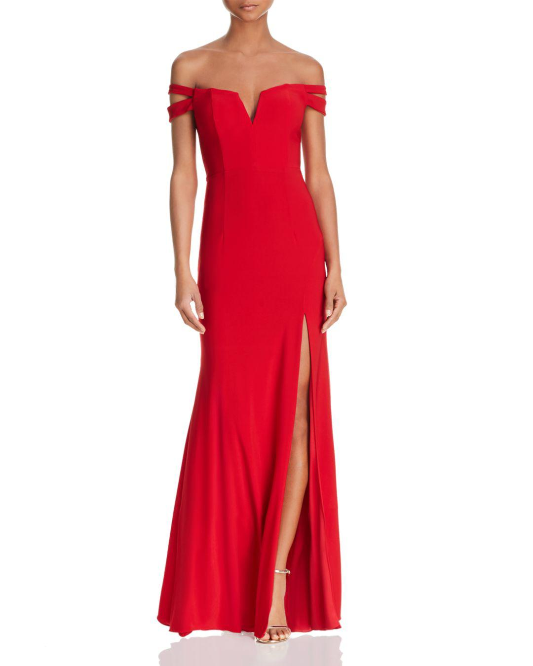 Lyst - Aqua Double-strap Off-the-shoulder Gown in Red