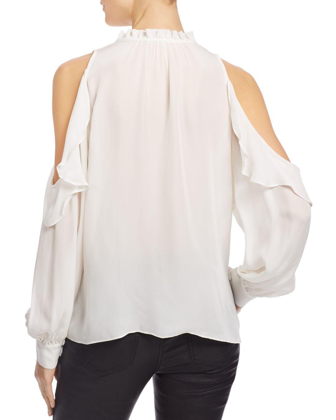 92e6ec00e7217 Parker Marjorie Ruffled Cold-shoulder Top in White - Save 1% - Lyst