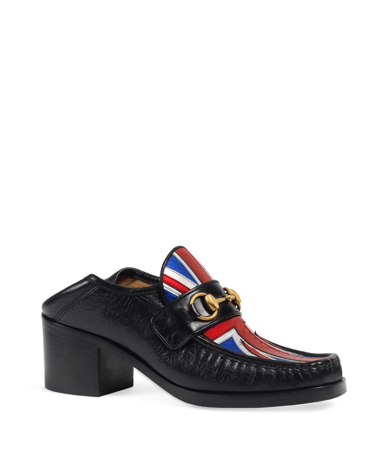 d42837108e5 Lyst - Gucci Women s Vegas Leather Mid Heel Loafers in Black