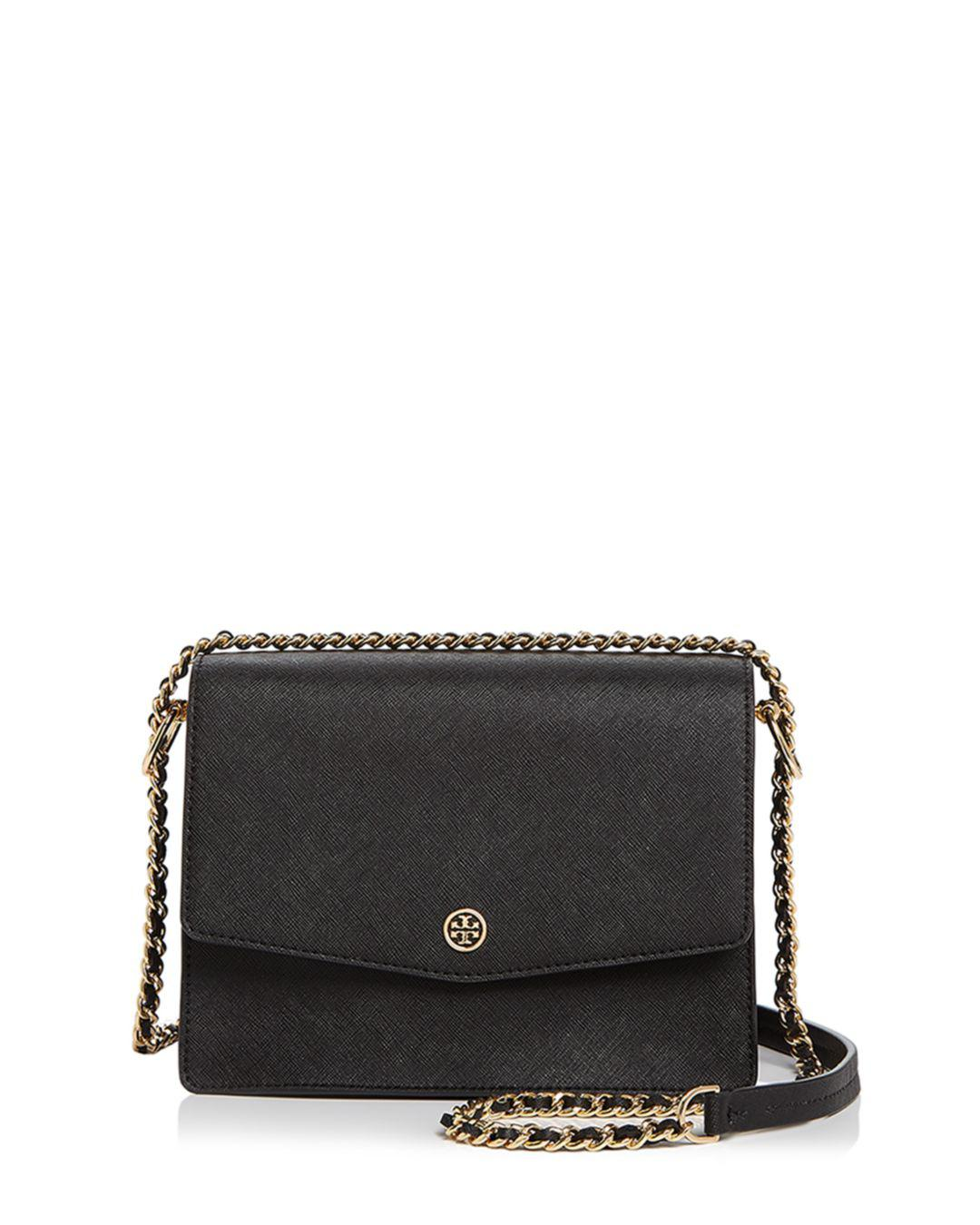 12b83ef5ff5a Lyst - Tory Burch Robinson Convertible Leather Shoulder Bag in Black