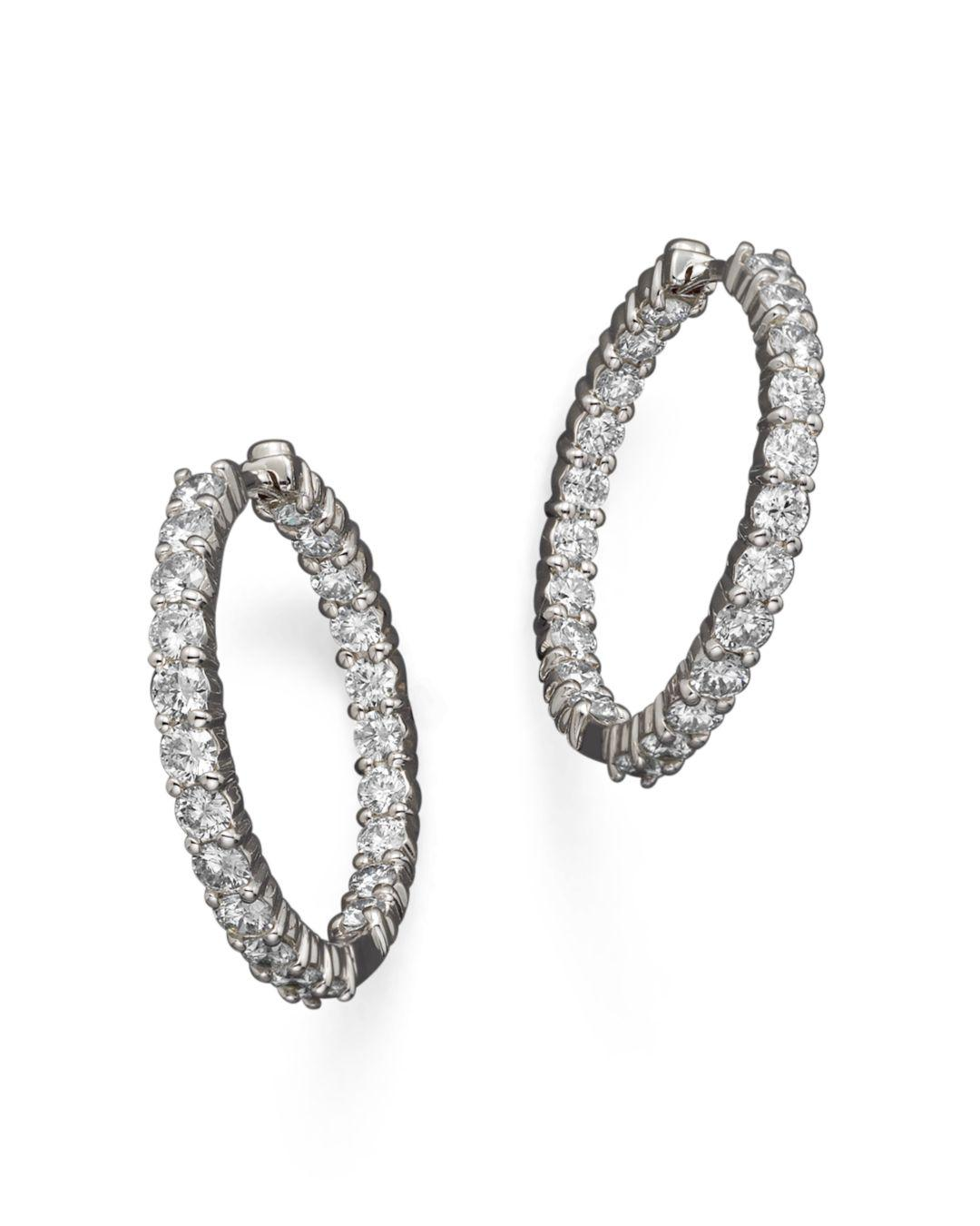 94c383b7c Roberto Coin. Women's 18k White Gold Diamond Inside - Out Hoop Earrings