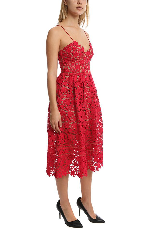 40eca766061b Self-Portrait - Red Azaelea Guipure Lace Dress - Lyst. View fullscreen