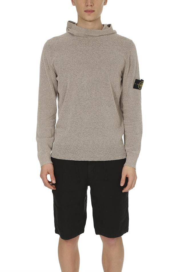 lyst stone island hooded knit pullover in gray for men. Black Bedroom Furniture Sets. Home Design Ideas