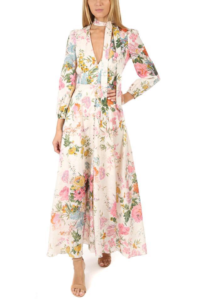 3496104933 Lyst - Blue   Cream Zimmermann Heathers Plunge Long Dress