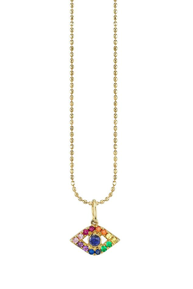 79cd21744 Lyst - Sydney Evan Bezel Rainbow Sapphire Evil Eye Necklace in Metallic