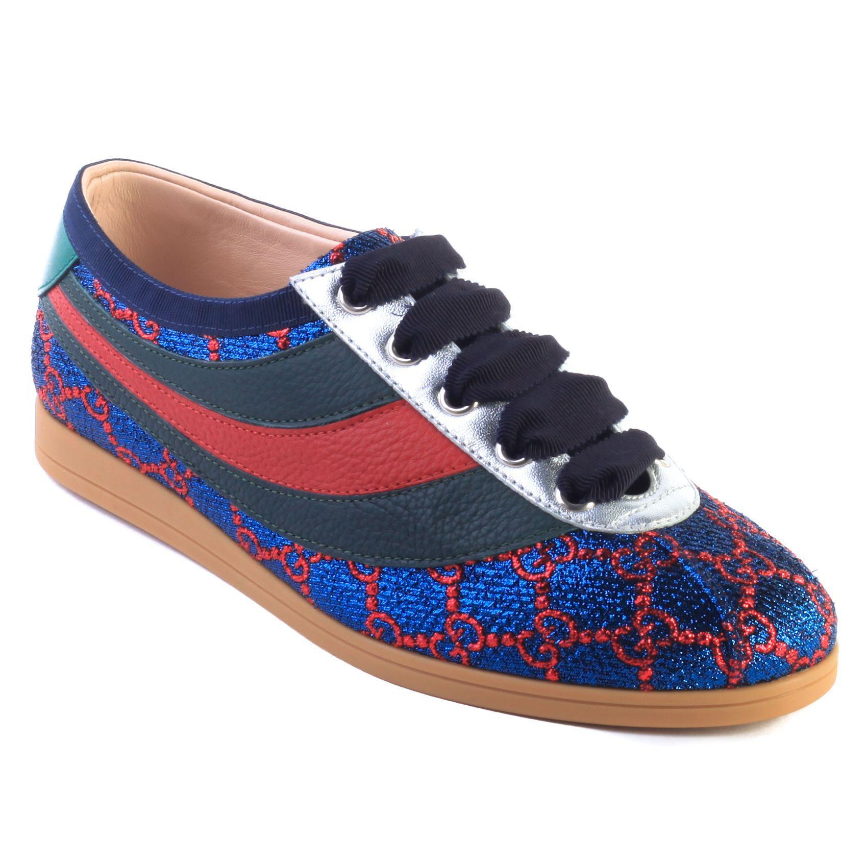 e0dd130dc Lyst - Gucci Women's Falacer Lurex Gg Sneaker Web Shoes Blue in Blue