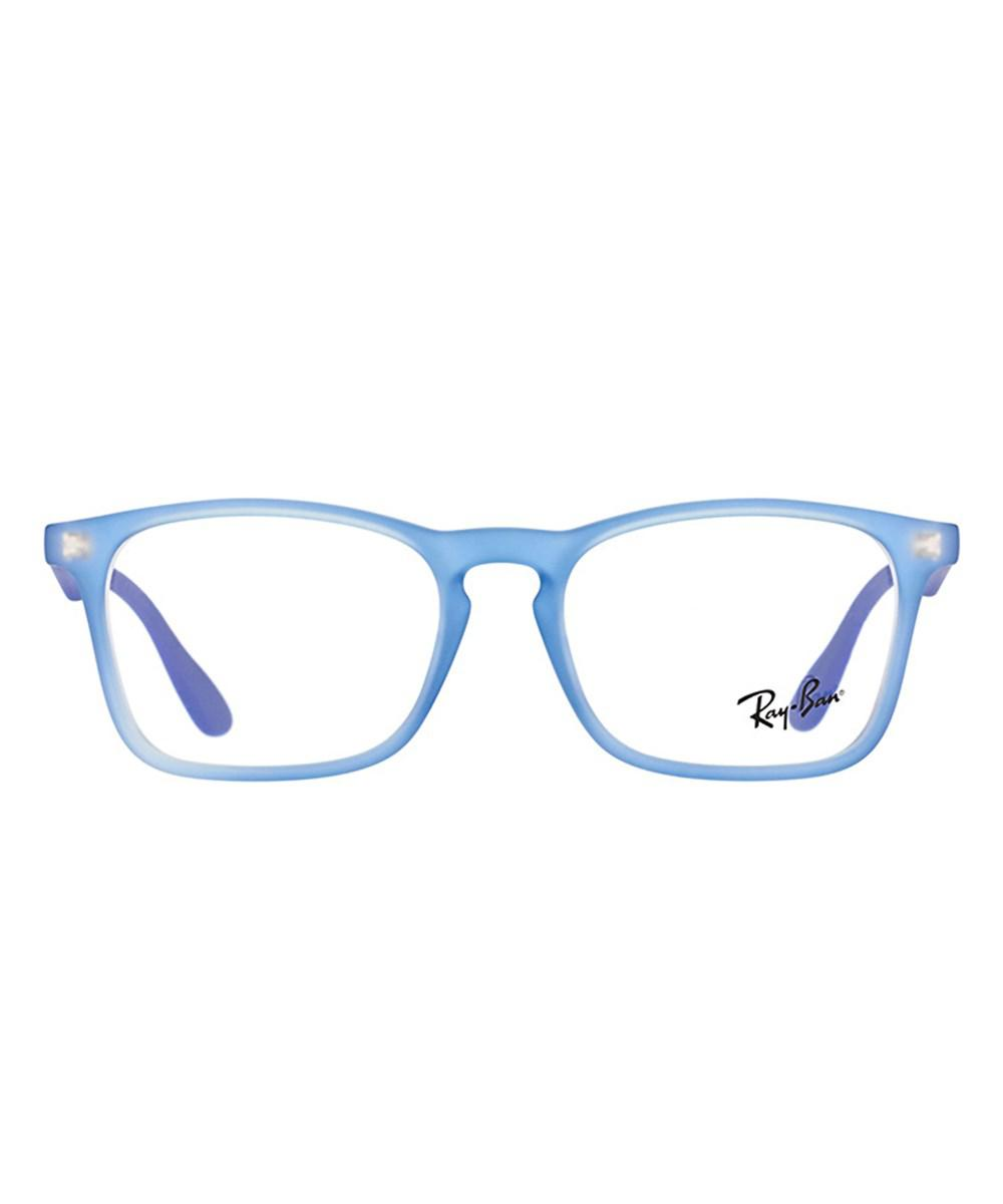 dfe4fa46990 Lyst - Ray-Ban 0ry1553 3668 46mm Rubber Electric Blue Square Eyeglasses in  Blue