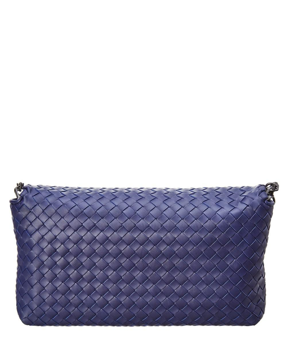 ed050bec9d94 Bottega Veneta Intrecciato Nappa Leather Flap Clutch in Blue - Lyst
