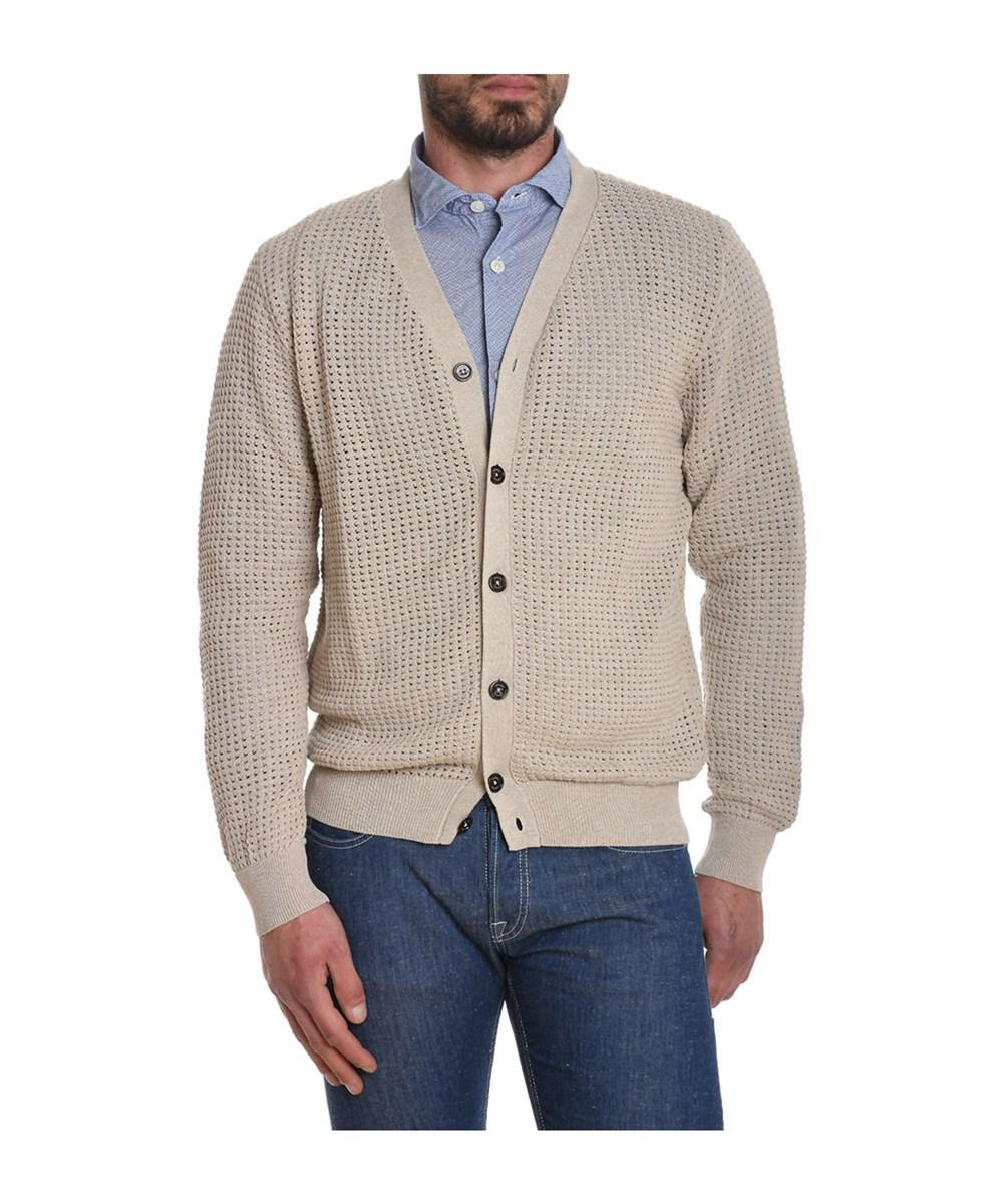Eleventy Men's Beige Cotton Cardigan in Brown for Men | Lyst